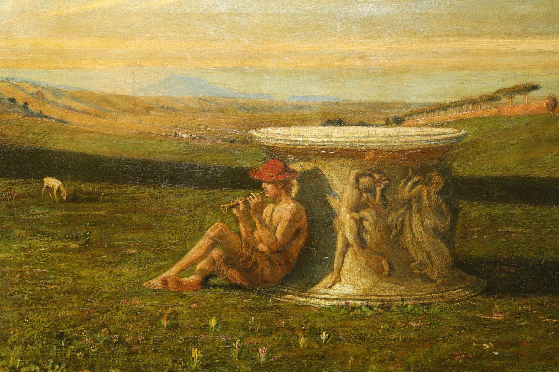 Englischer Monogrammist, Flöte spielender Hirte in arkadischer Landschaft - Bild 3 aus 5