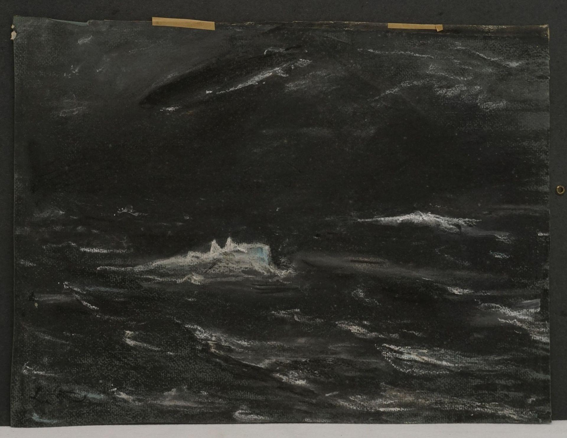 Wohl Ernst-Ludwig von Aster, Abtauchendes U-Boot mit Zeppelin - Bild 3 aus 4