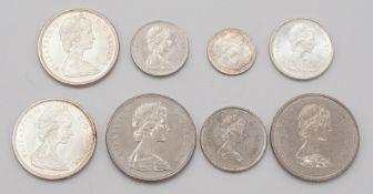 Acht kanadische Münzen