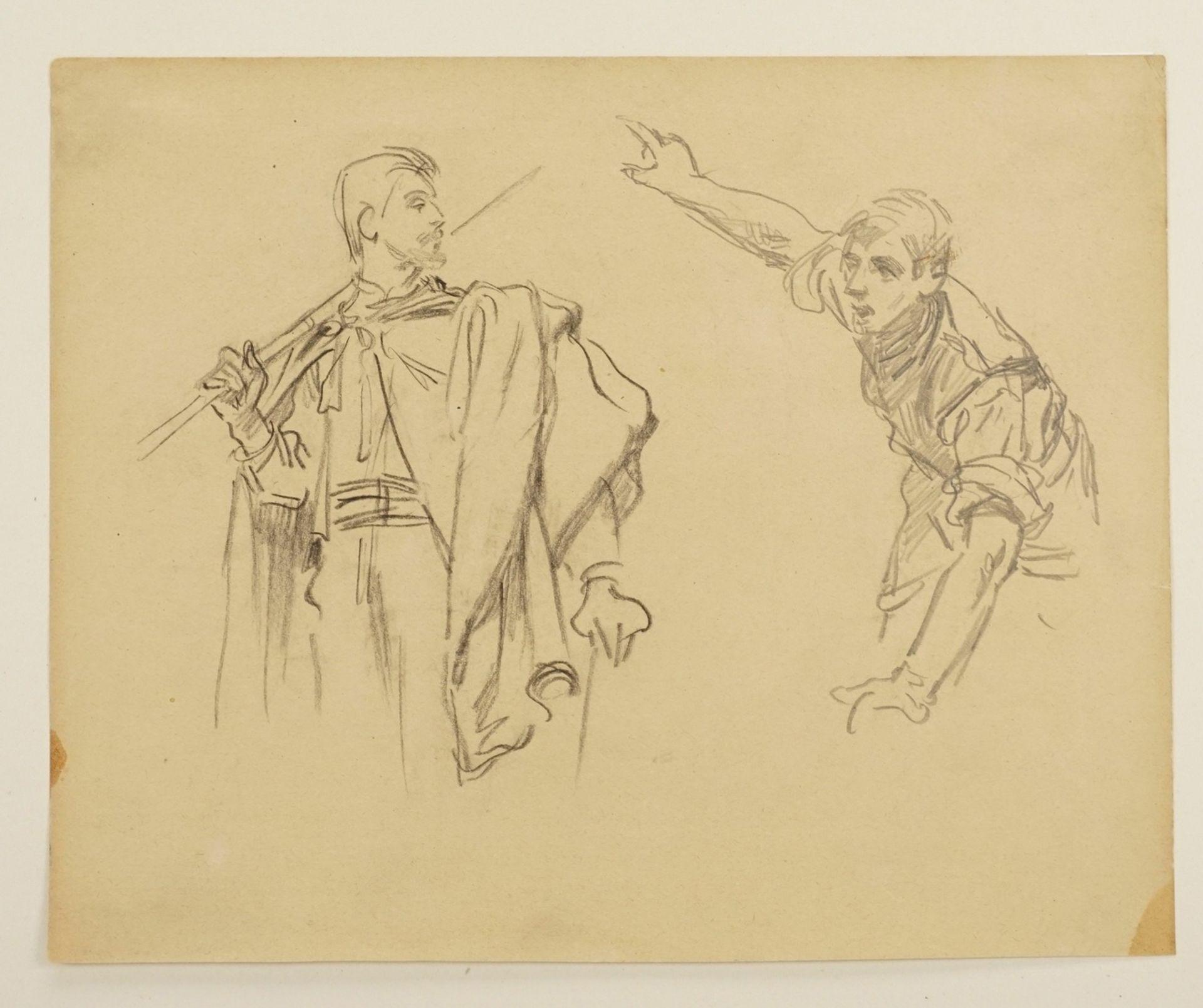 Unbekannter Zeichner, Zwei männliche Figurenstudien - Bild 3 aus 4