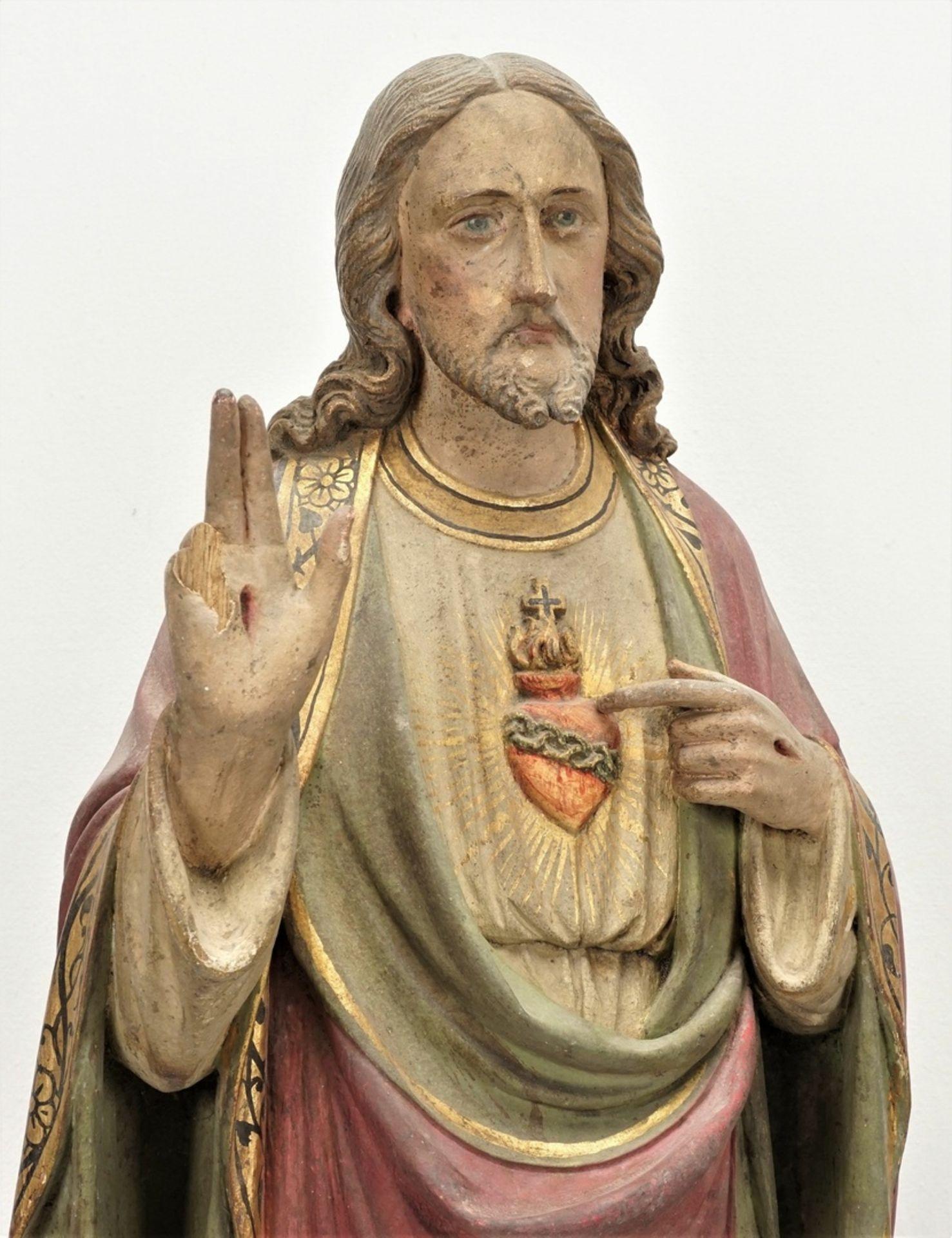 Zwei Holzskulpturen, Jesus und Maria mit brennendem Herzen, 19. Jh. - Bild 4 aus 5