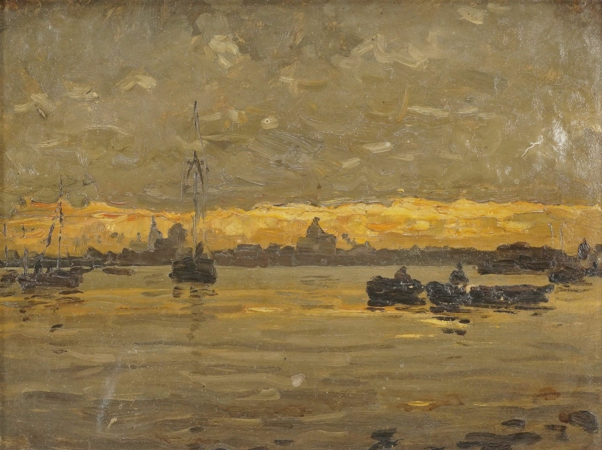 """Gustav Wendling, """"Blick von See aus auf Stralsund"""""""