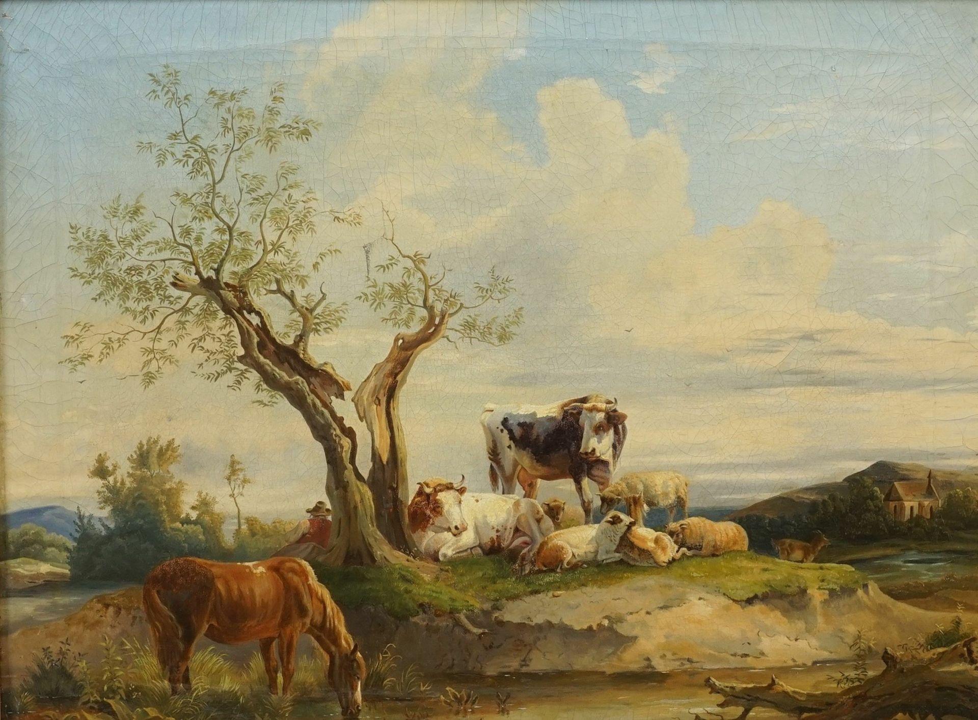 Edmund Mahlknecht, Rastender Hirte mit Pferd, Kühen und Schafen