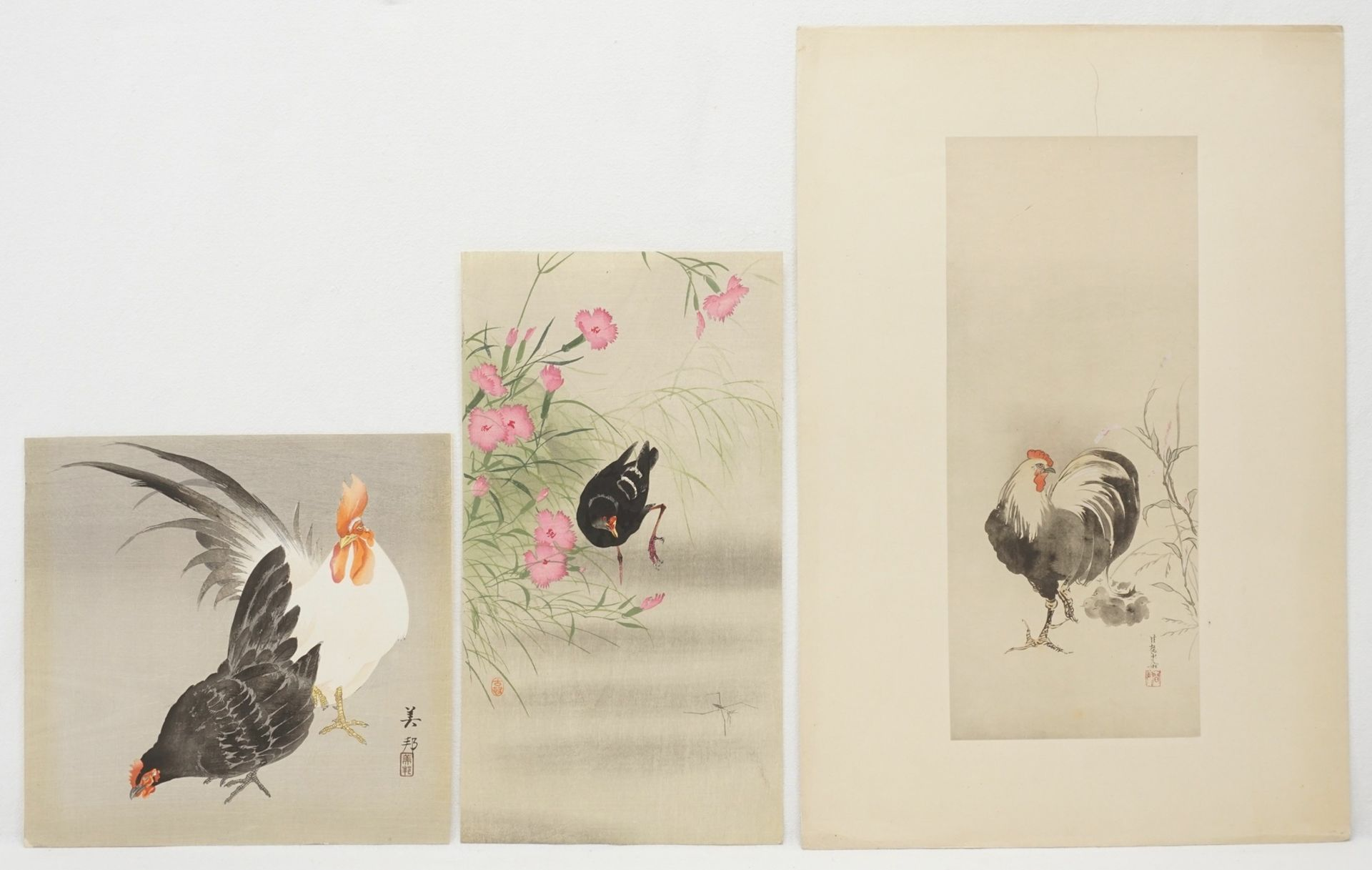 Konvolut Holzschnitte mit Vögeln