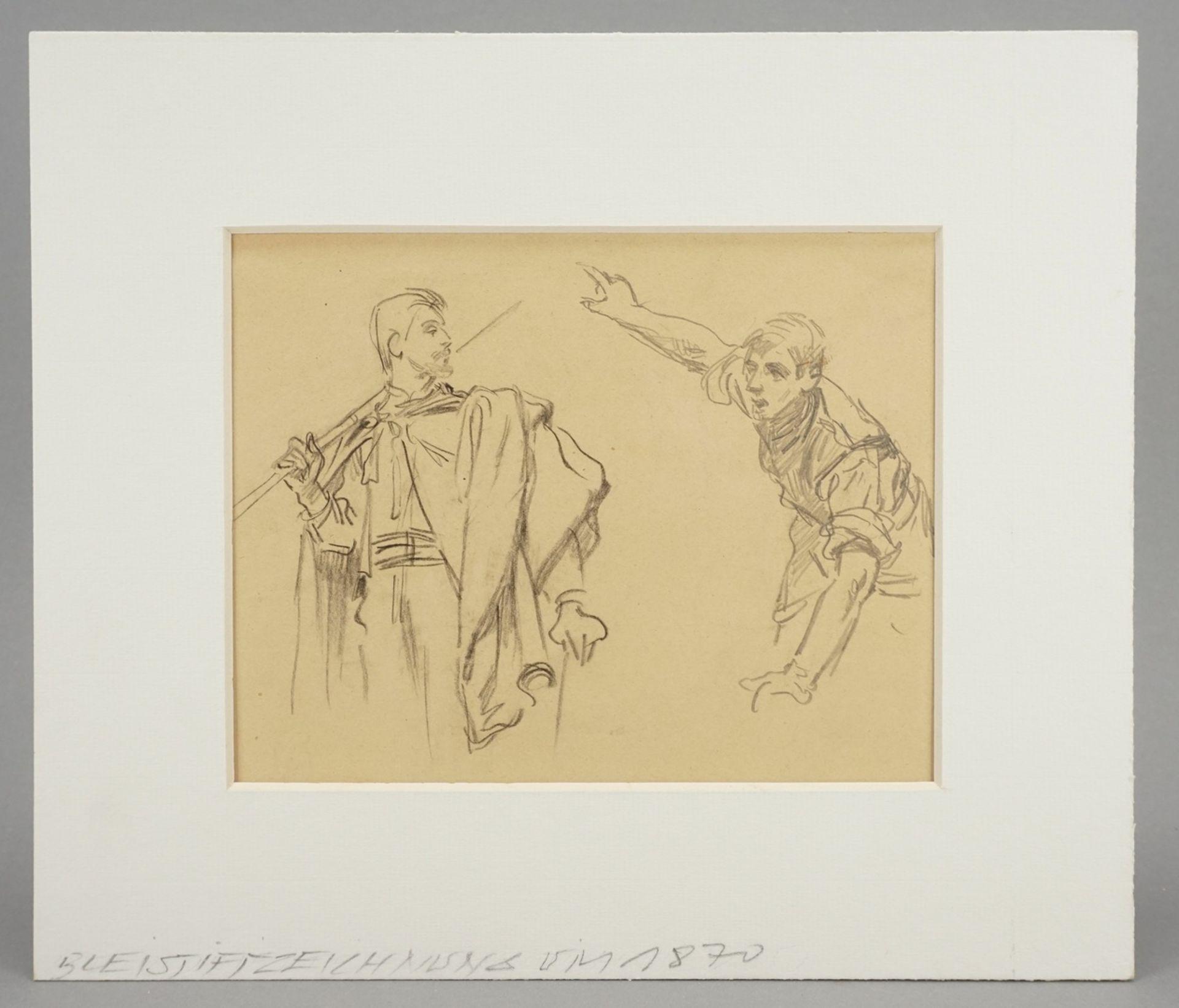 Unbekannter Zeichner, Zwei männliche Figurenstudien - Bild 2 aus 4