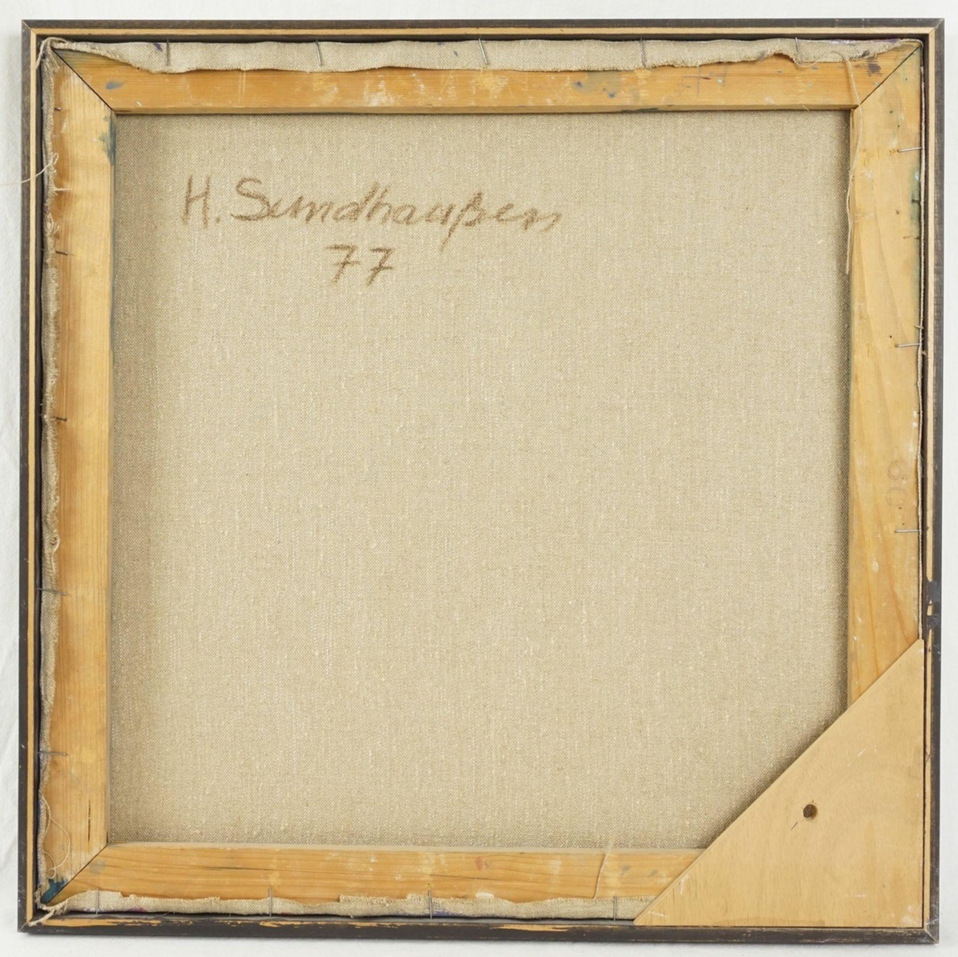 Helmut Sundhaußen, Geometrische Komposition auf blauem Grund - Bild 2 aus 2