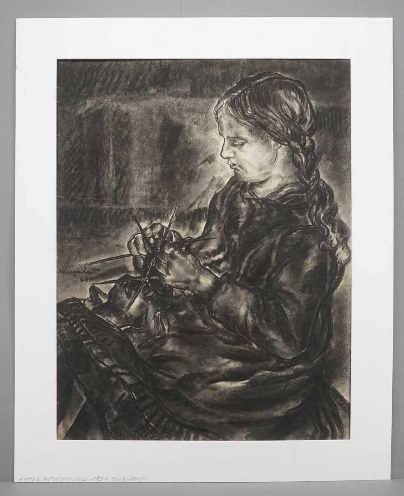Unbekannter Zeichner, Strickendes Mädchen - Bild 2 aus 4