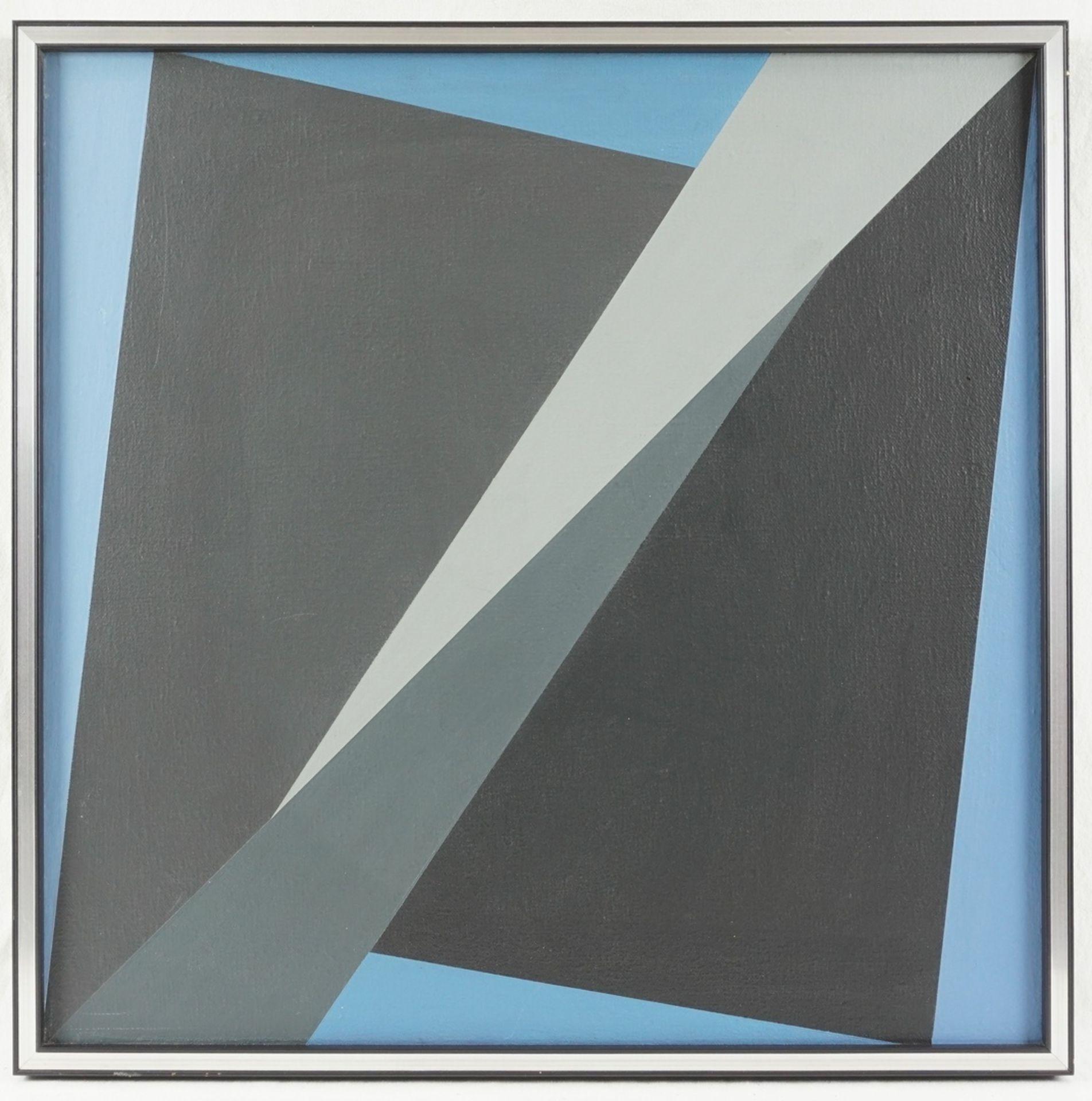 Helmut Sundhaußen, Geometrische Komposition auf blauem Grund