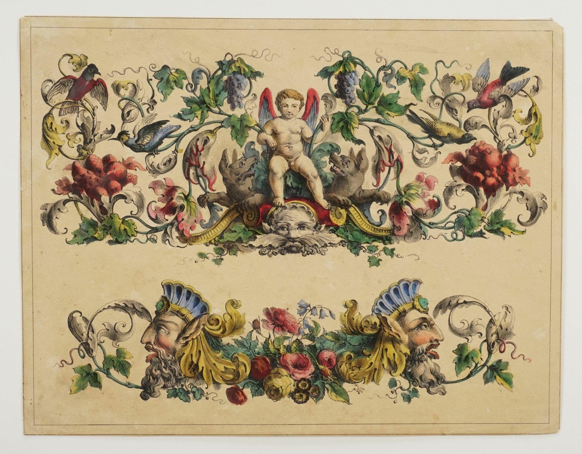 Dekorblatt mit Putto und Grotesken - Bild 3 aus 3