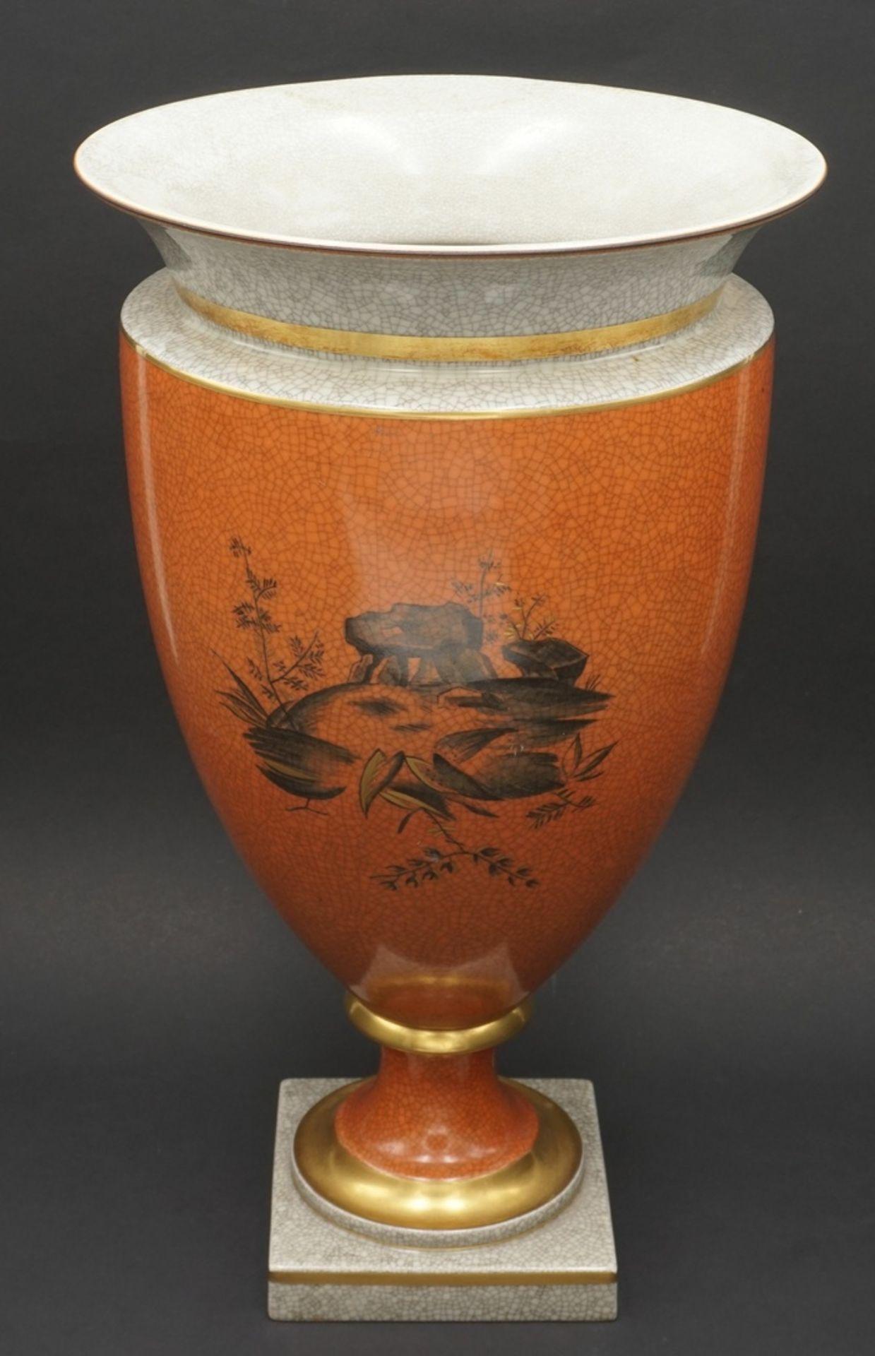 Royal Copenhagen große Krakelee Vase mit Schale, um 1950 - Bild 3 aus 8