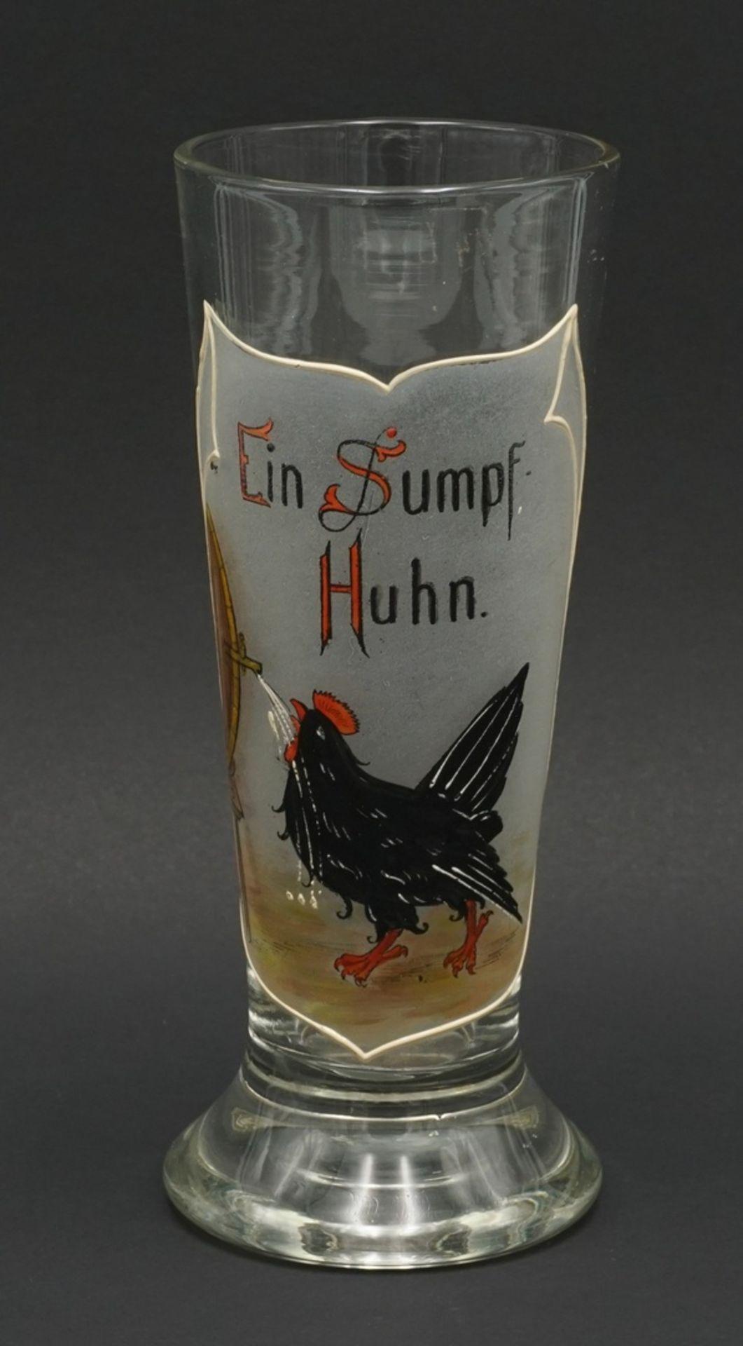 """Bierglas """"Ein Sumpf-Huhn"""", um 1900"""