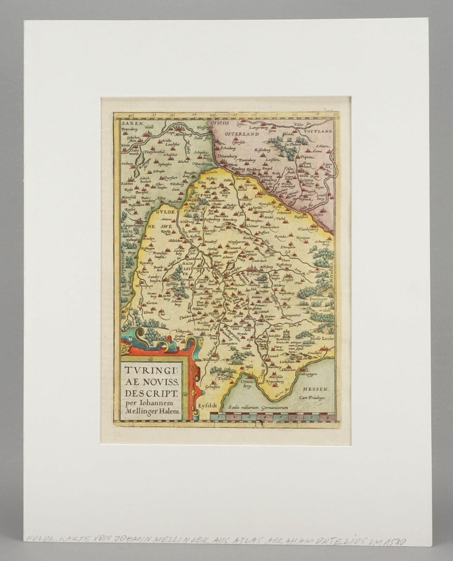 "Johannes Mellinger, ""Turingiae noviss. descript."" Landkarte Thüringen - Bild 2 aus 4"