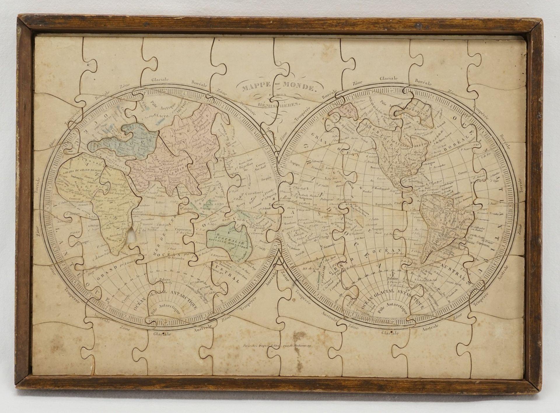 Puzzle Welt und Europa, um 1880