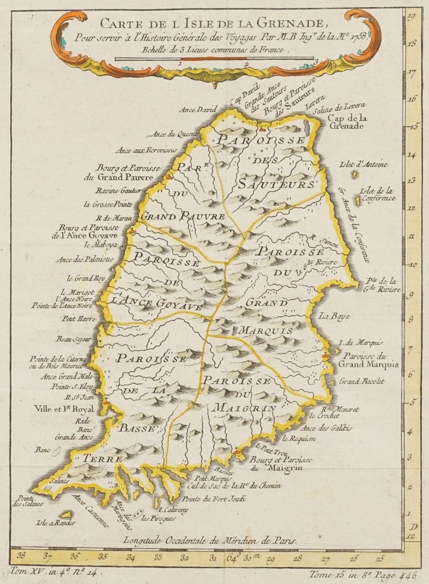 """Jacques-Nicolas Bellin, """"Carte de l'Isle de la Grenade"""" (Landkarte der Insel Grenada, Kleine ..."""