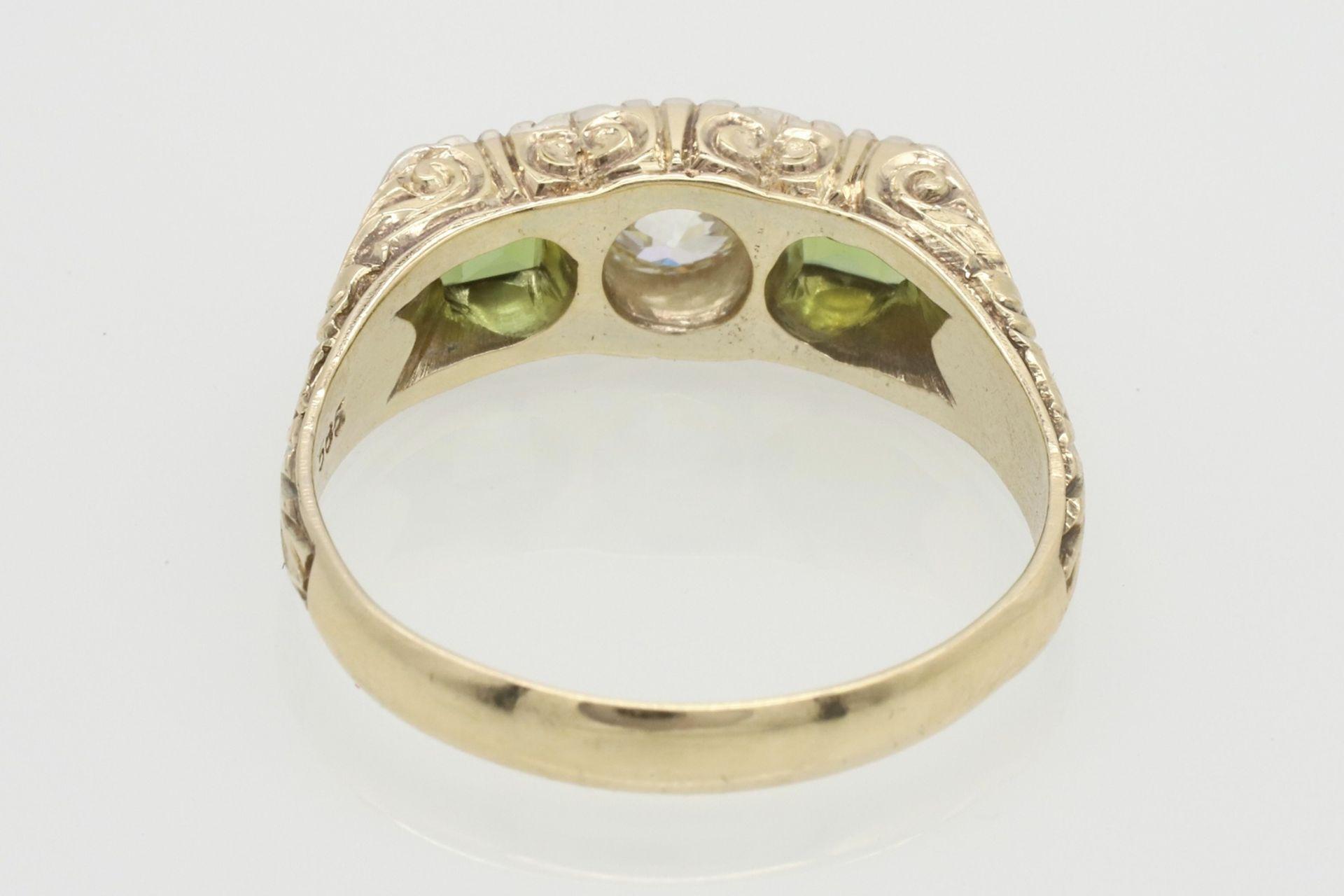 Ring mit Diamant und Peridot besetzt - Bild 3 aus 5
