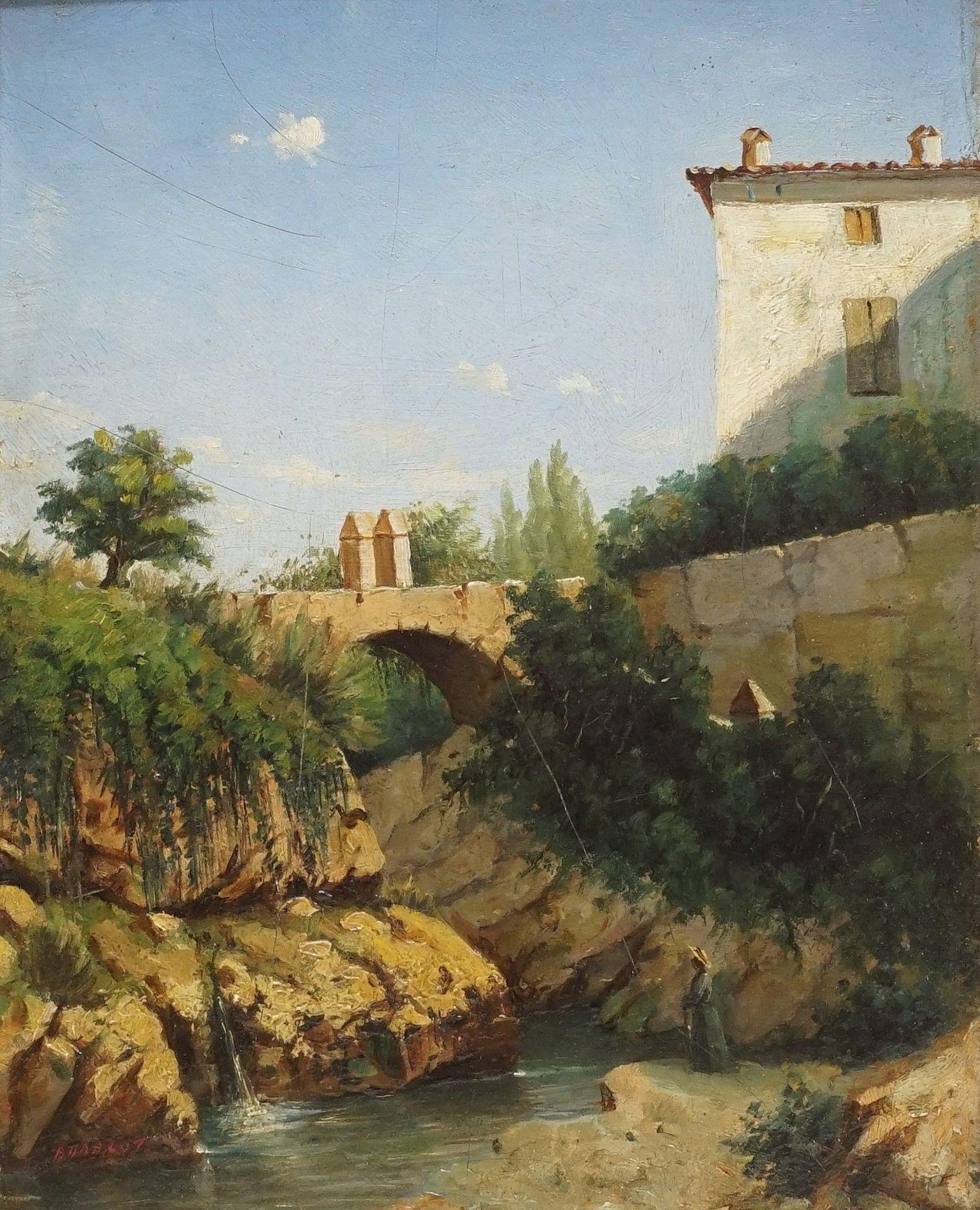 """Französischer Landschaftsmaler, sign. Budelot, """"Kleiner Flusslauf in Südfrankreich"""""""