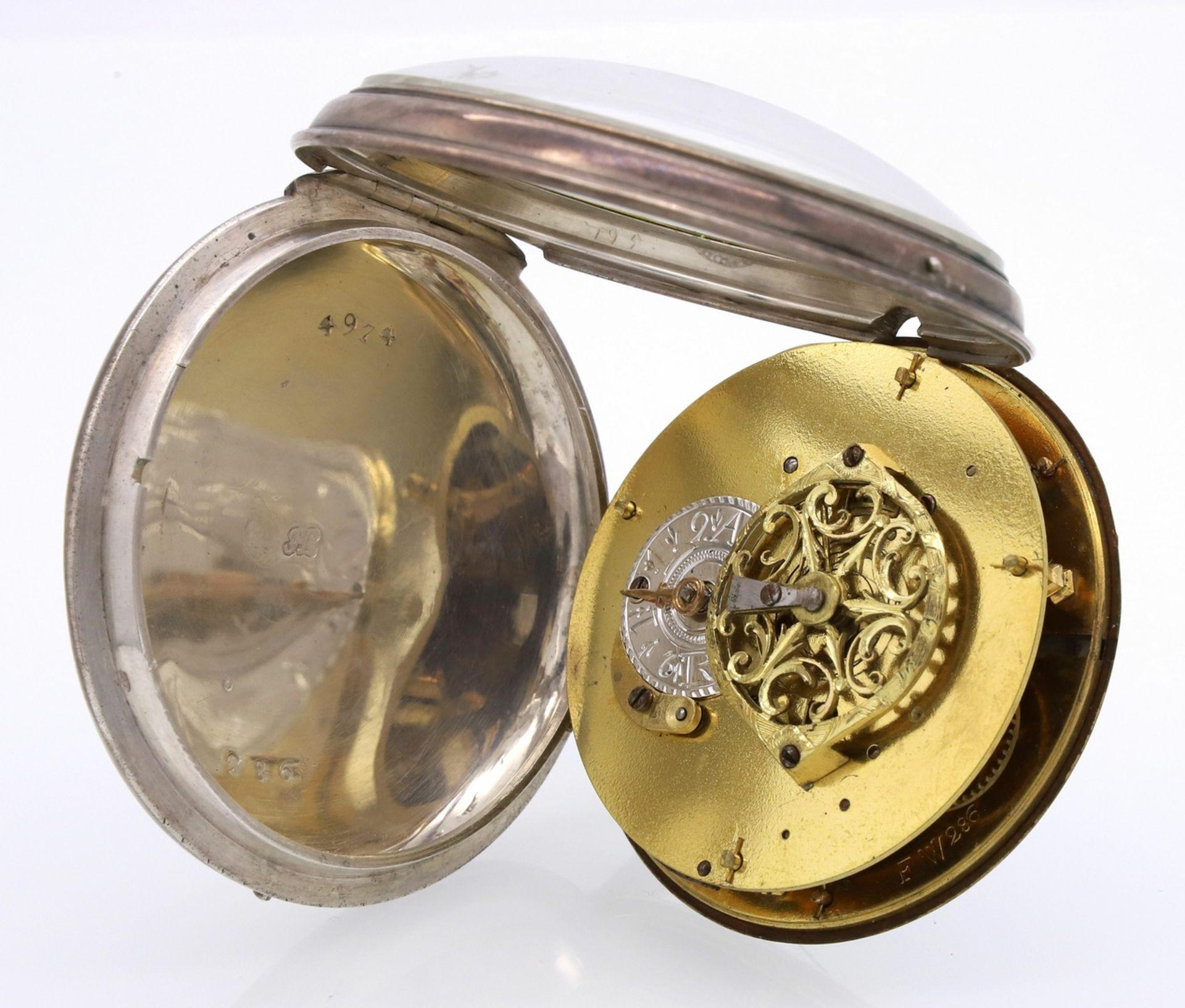Vuilleumier Fres silberne Spindeltaschenuhr mit Datumsanzeige, um 1830 - Bild 4 aus 5