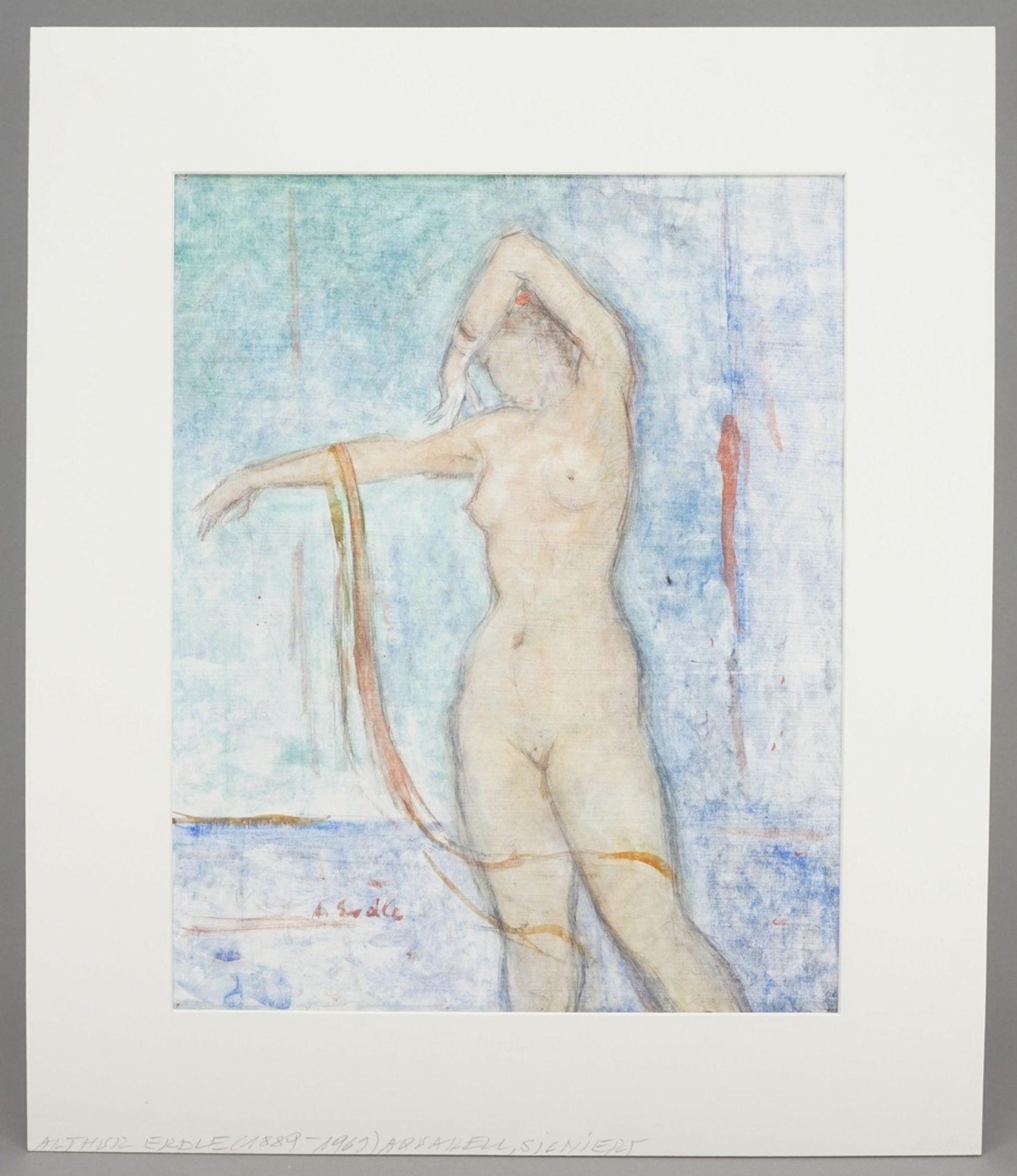 Arthur Erdle, Sinnlicher Akt mit Schleifenband - Bild 2 aus 4