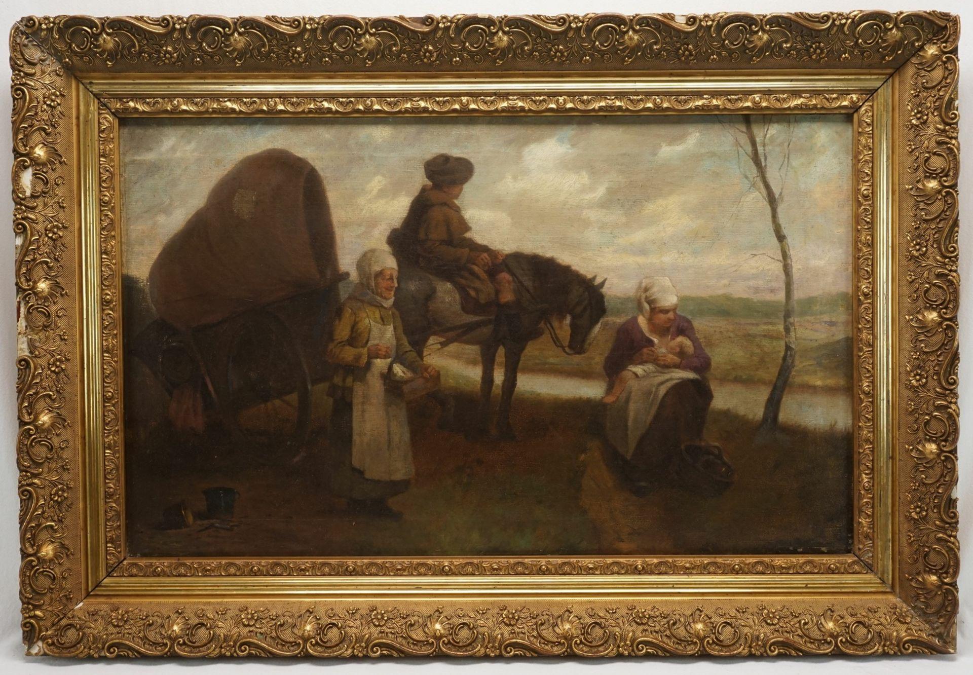 Unbekannter Maler, Rast auf der Reise mit dem Planwagen - Bild 2 aus 3