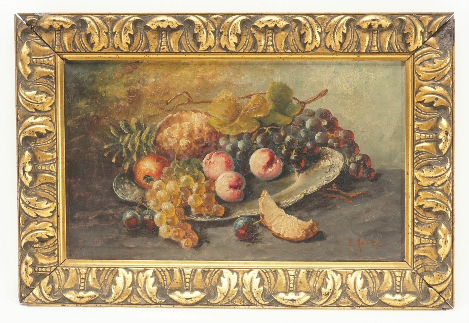 """Emmy Adam, """"Früchtestillleben mit Trauben, Pfirsichen und Ananas"""""""
