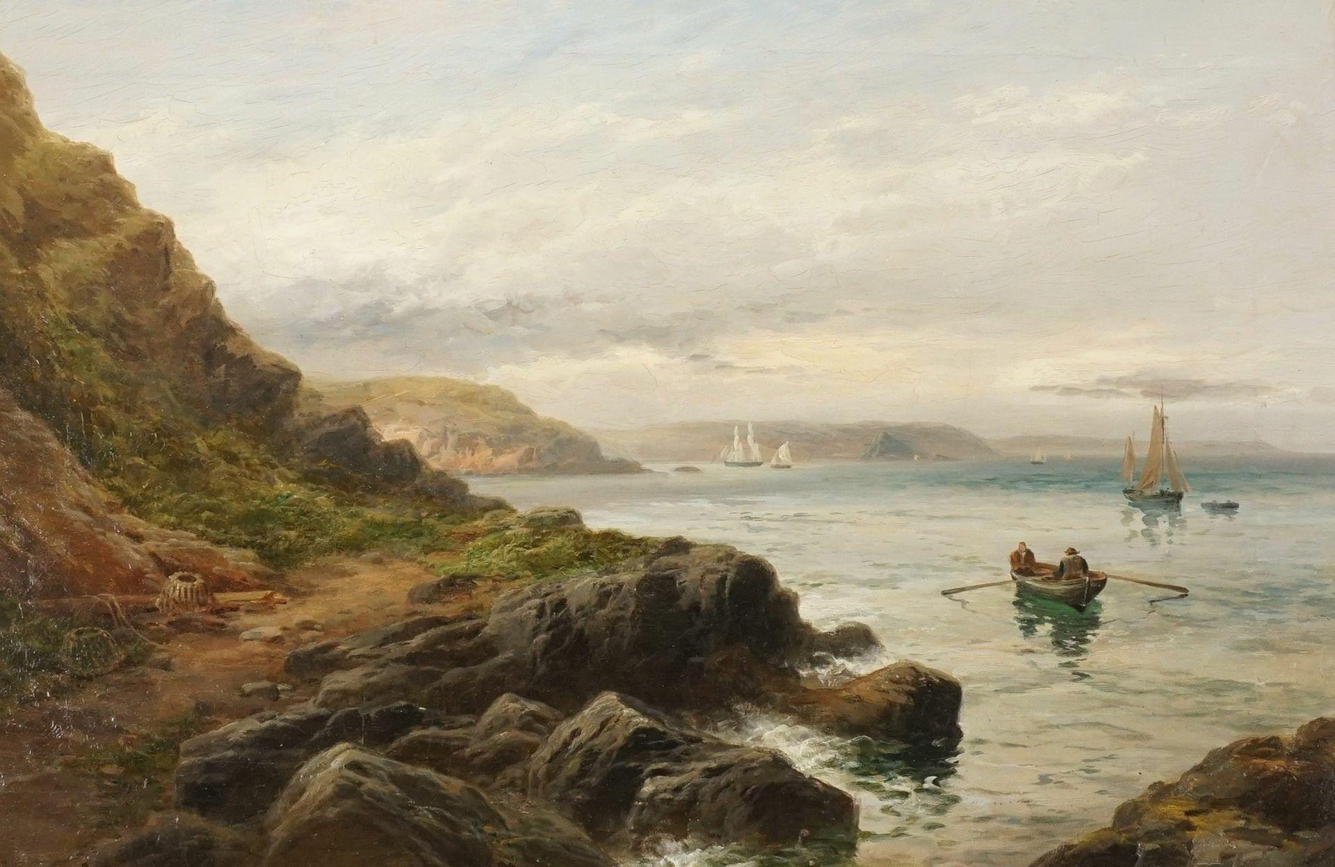 Unbekannter Landschaftsmaler, Felsige Küste mit Fischerbooten - Bild 2 aus 3