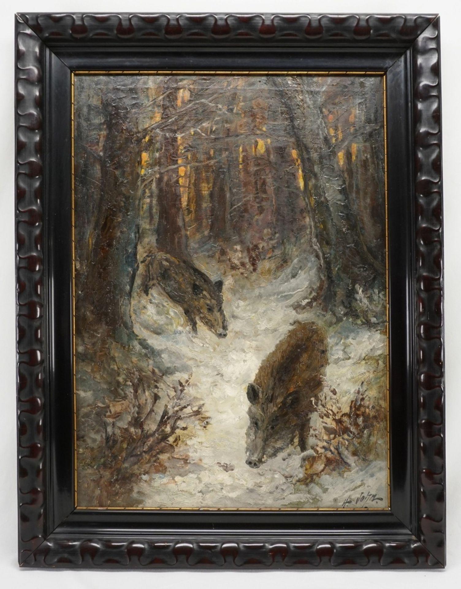 """Hugo John, """"Wildschweine im Schnee"""" - Bild 2 aus 4"""