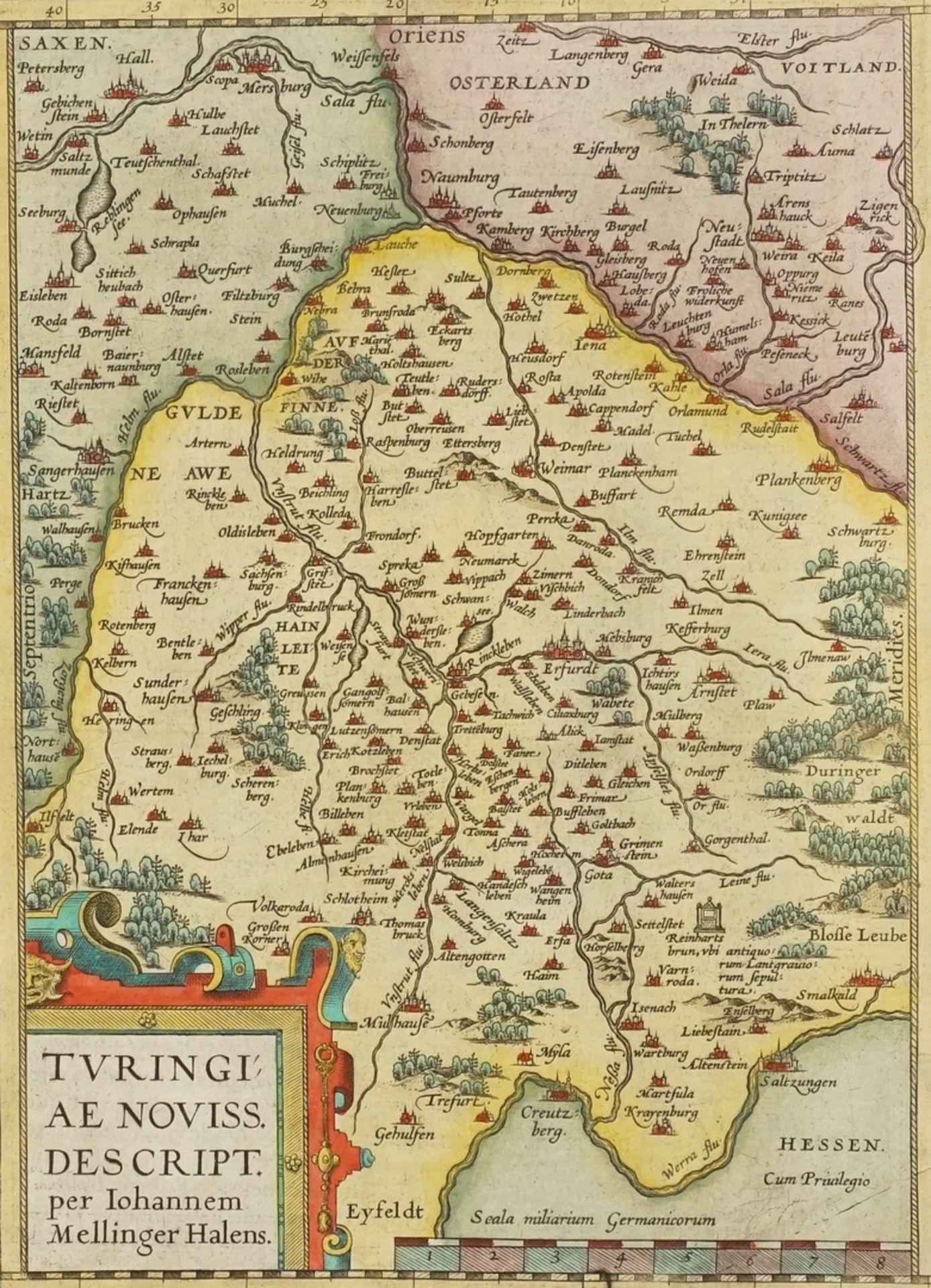 """Johannes Mellinger, """"Turingiae noviss. descript."""" Landkarte Thüringen"""