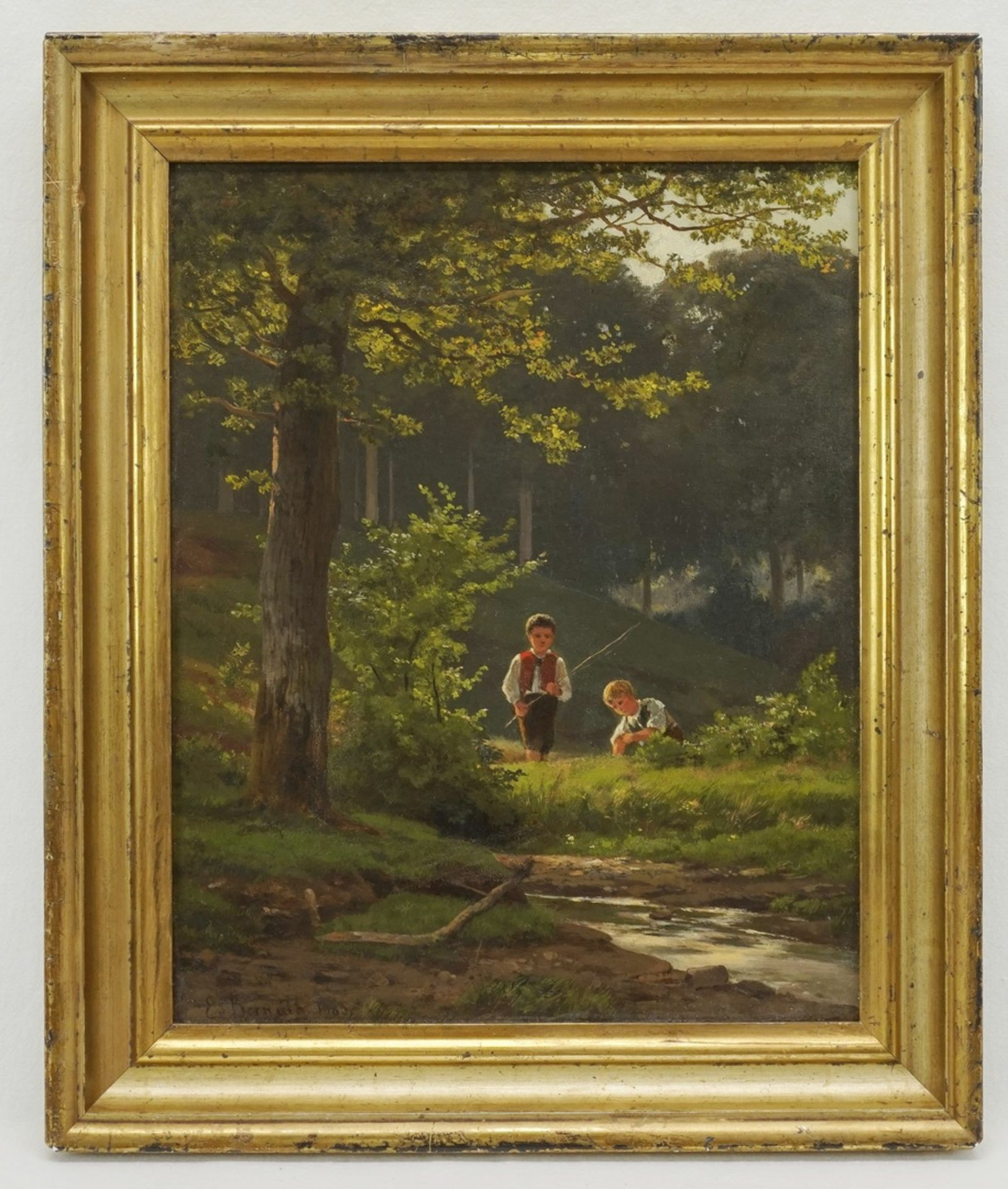 Ernst Philipp von Bernuth, Zwei Jungen beim Angeln - Bild 2 aus 4