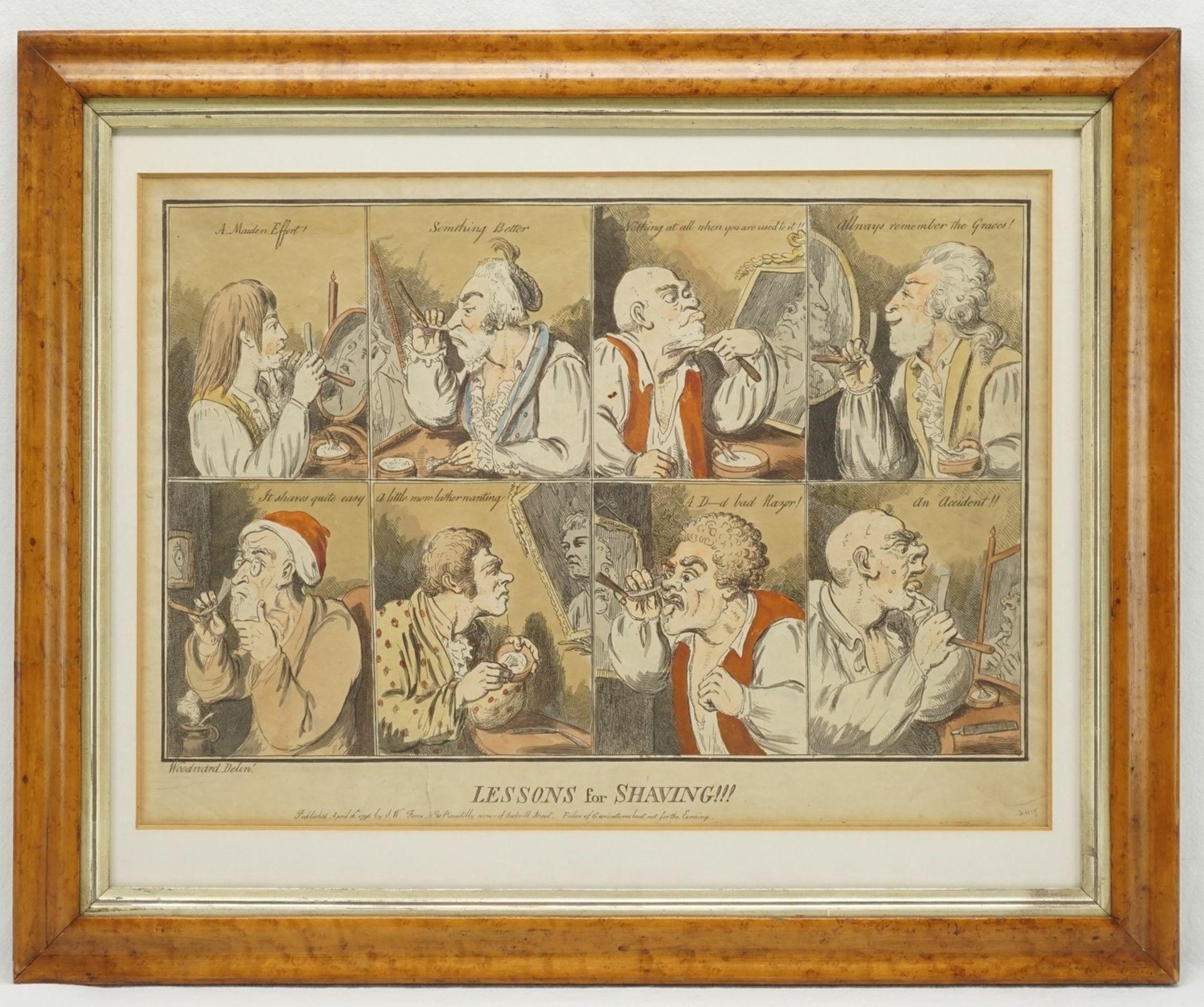 "George Moutard Woodward, ""Lessons of Shaving"" (Karikaturistische Rasurszenen) - Bild 2 aus 3"