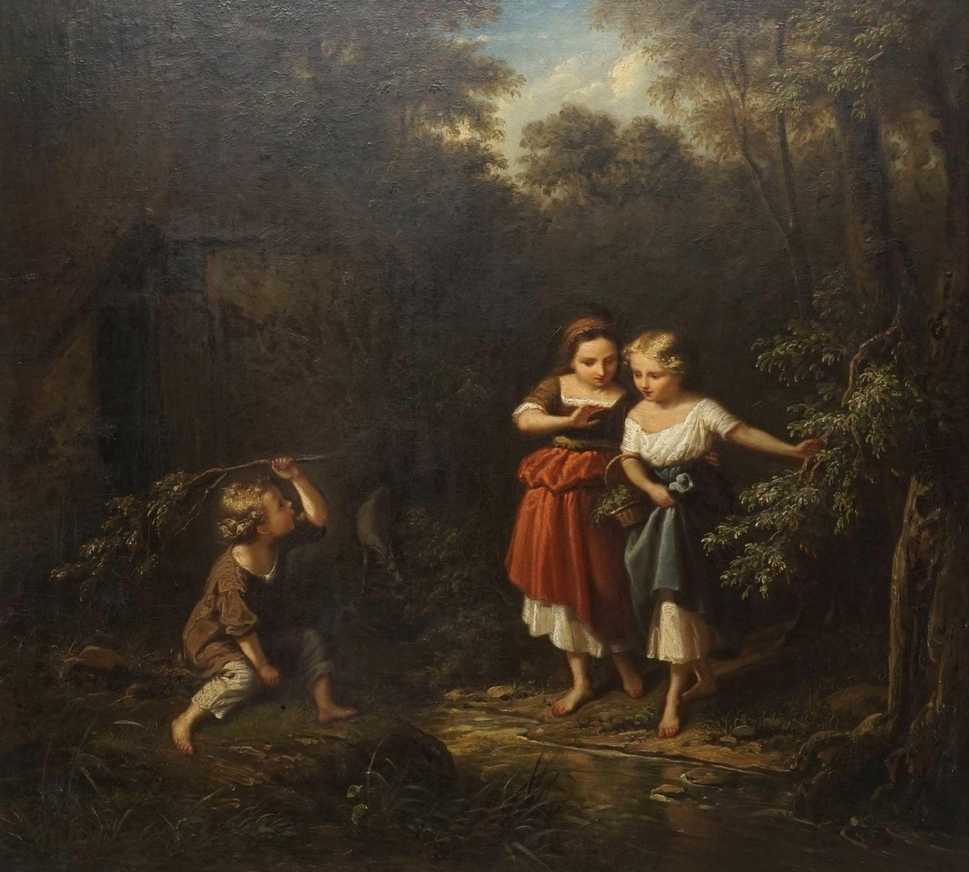 """Friedrich Rudolf Albert Kornek (Korneck), """"Eine Kindergruppe"""" (Kinder am Waldbach) - Bild 2 aus 4"""