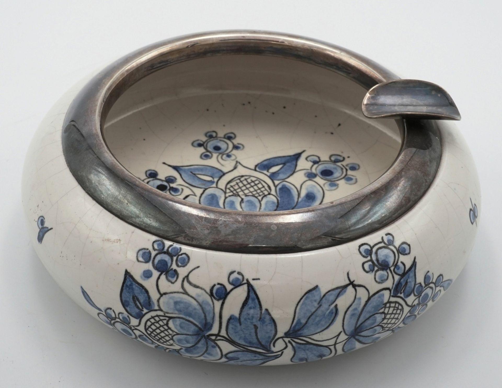 Keramik Aschenbecher mit Silbermontierung - Bild 2 aus 4