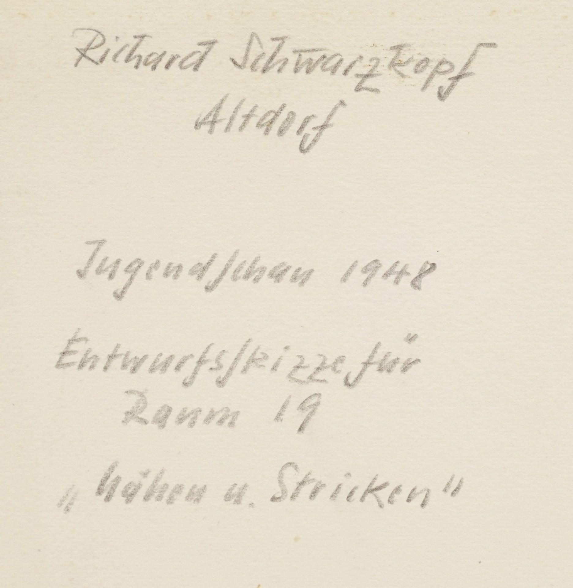 """Richard Schwarzkopf, Entwurf """"Nähen und Stricken"""" - Bild 5 aus 5"""