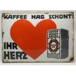 Emailleschild Kaffee HAG, 1. Hälfte 20. Jh.