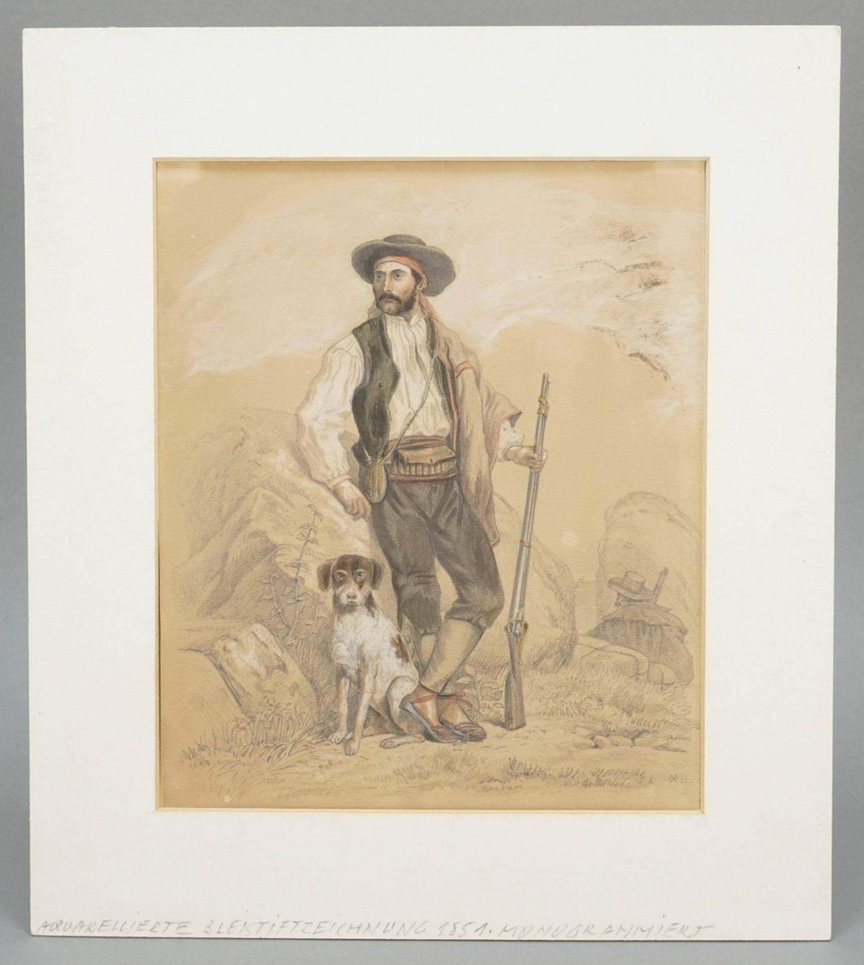 """Monogrammist V.W., """"Südlicher Jäger mit Hund und Gewehr"""" - Bild 2 aus 4"""
