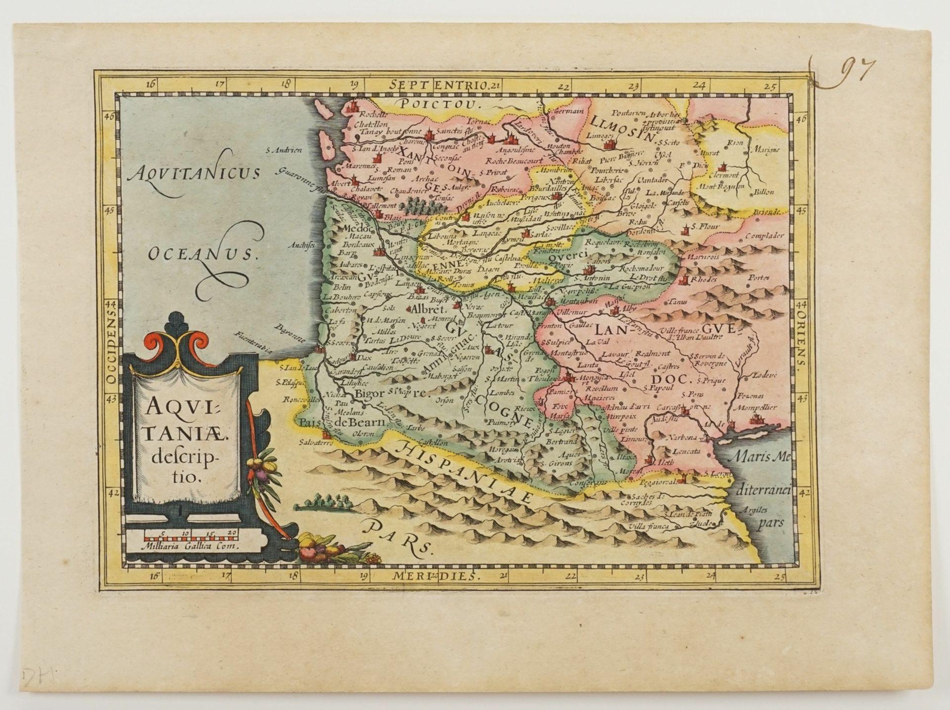 "Gerhard Mercator, ""Aquitaniae descriptio"" (Landkarte von Aquitanien, Südfrankreich) - Bild 3 aus 3"