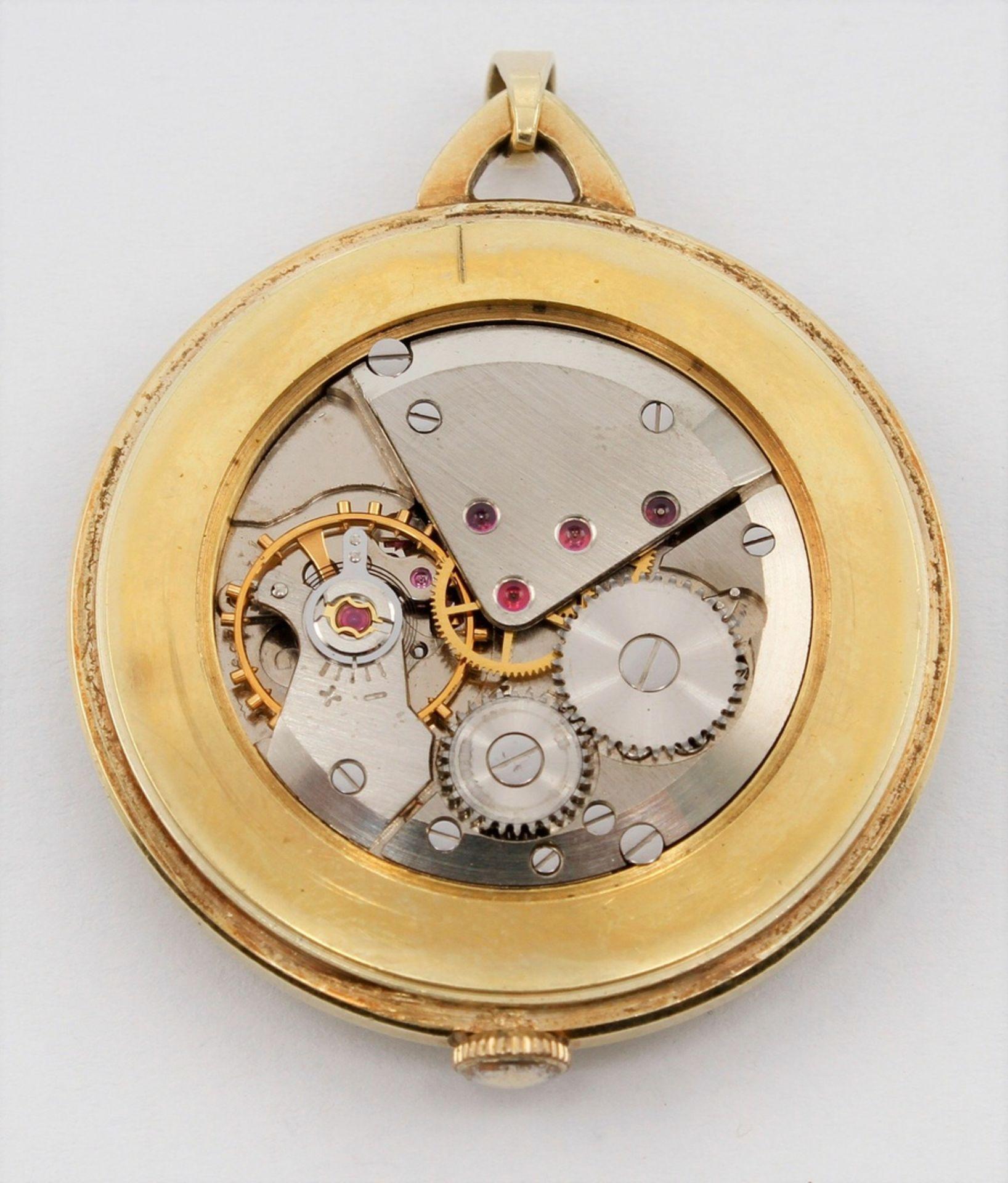 Kleine goldene Anhängeruhr / Damentaschenuhr, 2. Hälfte 20. Jh. - Bild 4 aus 5