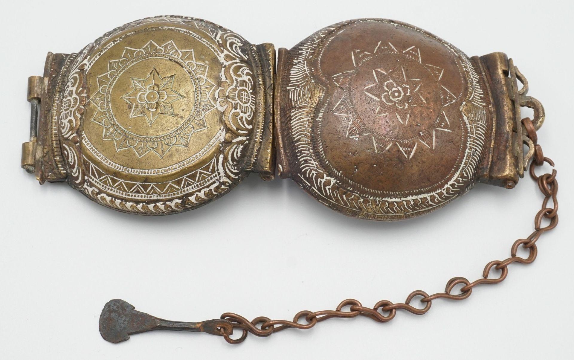 Liturgisches Gefäß / Deckeldose mit Spatel, Tibet, 19. Jh. - Bild 4 aus 4