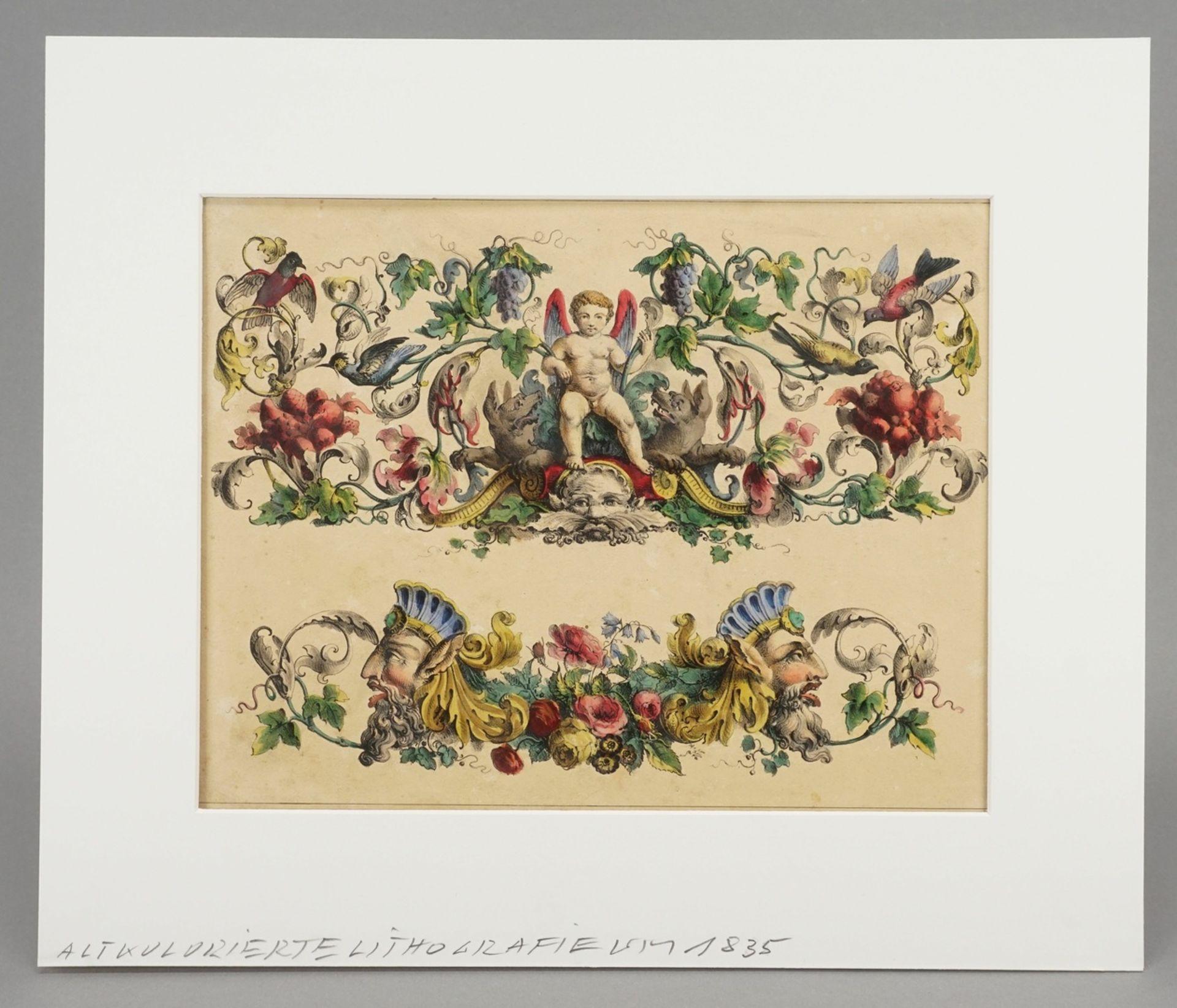 Dekorblatt mit Putto und Grotesken - Bild 2 aus 3