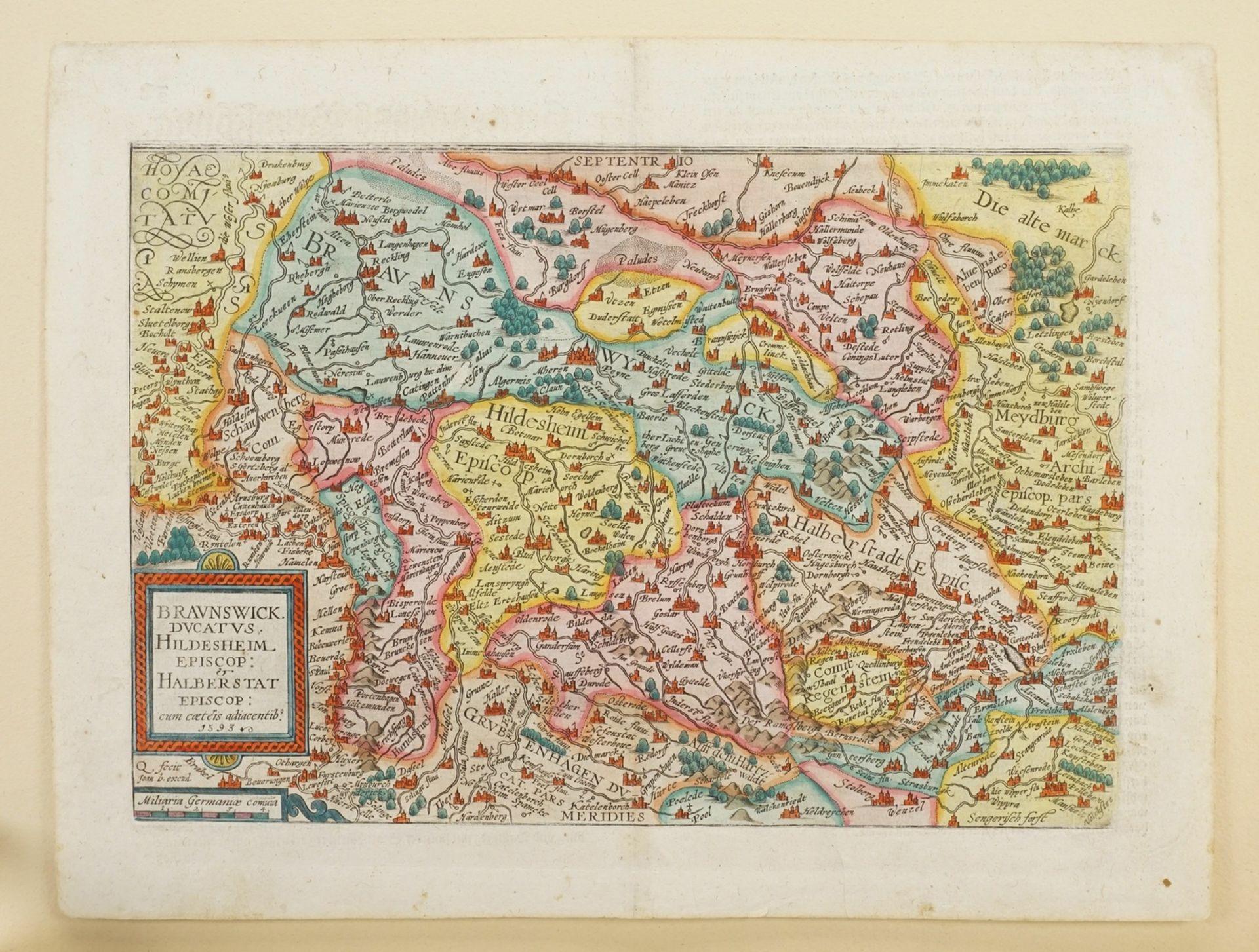 """Mat(t)hias Quad, """"Braunswick Ducatus. Hildeheim Episop: & Halberstat Episcop:"""" (Landkarte des ... - Bild 3 aus 4"""