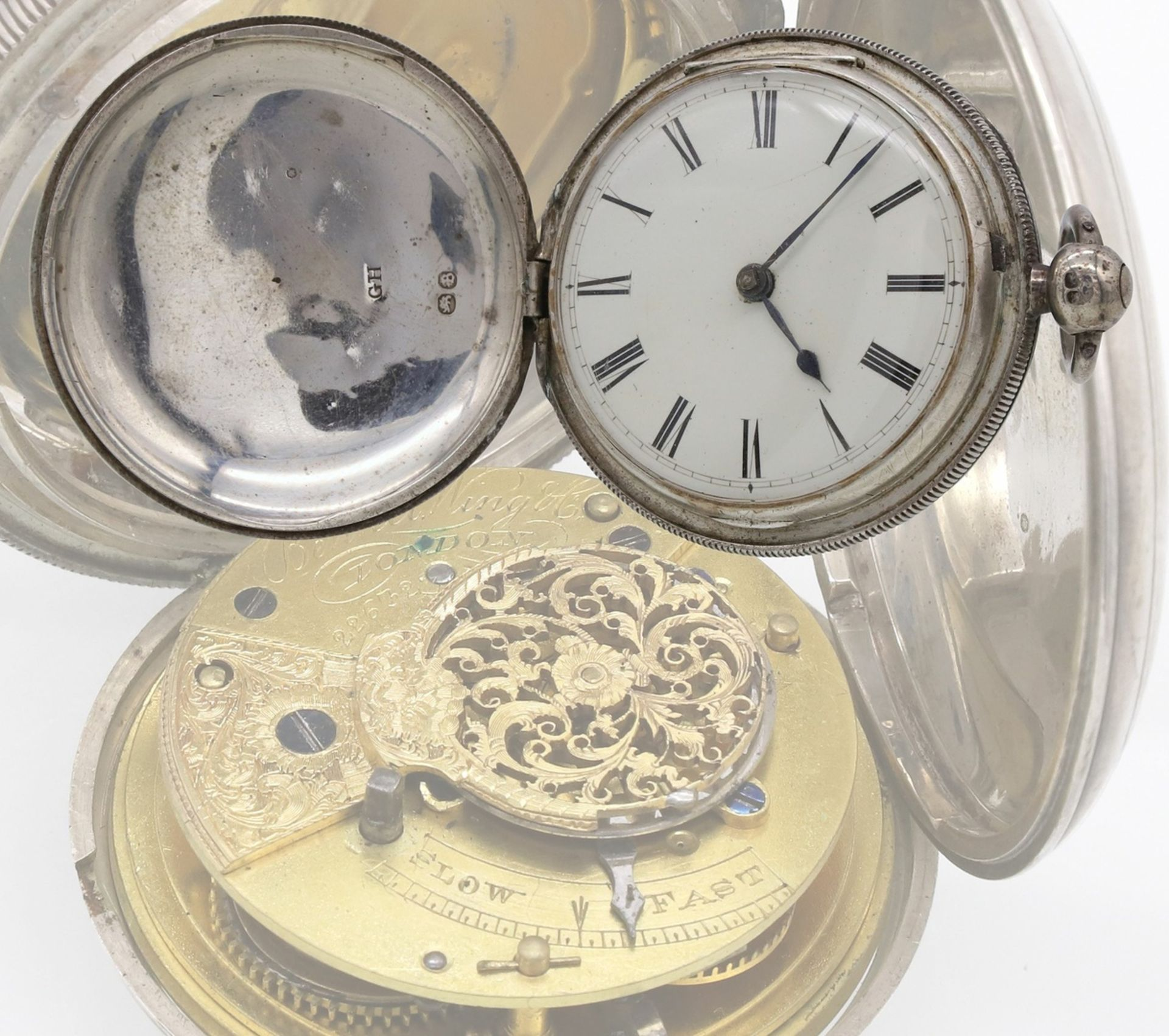 Bennet Wing London Spindeltaschenuhr mit Sprungdeckel, 1837