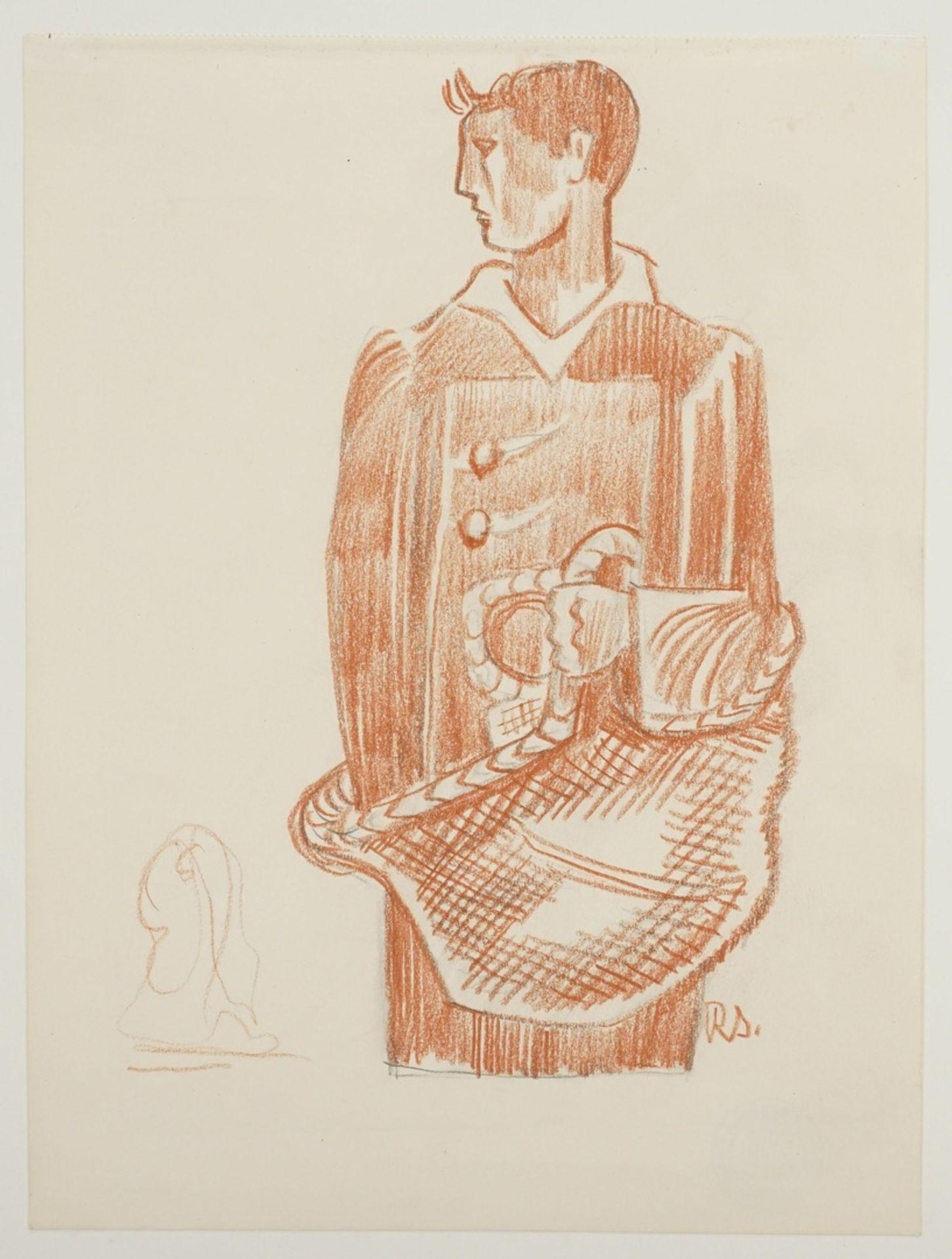 Richard Schwarzkopf, Männliche Figur mit Korb - Bild 3 aus 5