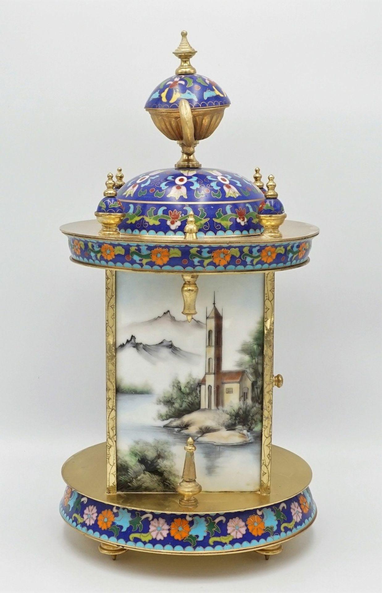 Orientalische Cloisonné Tischuhr, 2. Hälfte 20. Jh. - Bild 3 aus 5
