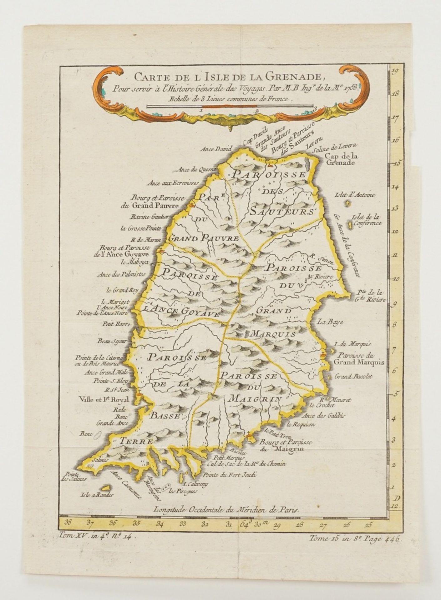 """Jacques-Nicolas Bellin, """"Carte de l'Isle de la Grenade"""" (Landkarte der Insel Grenada, Kleine ... - Bild 3 aus 3"""