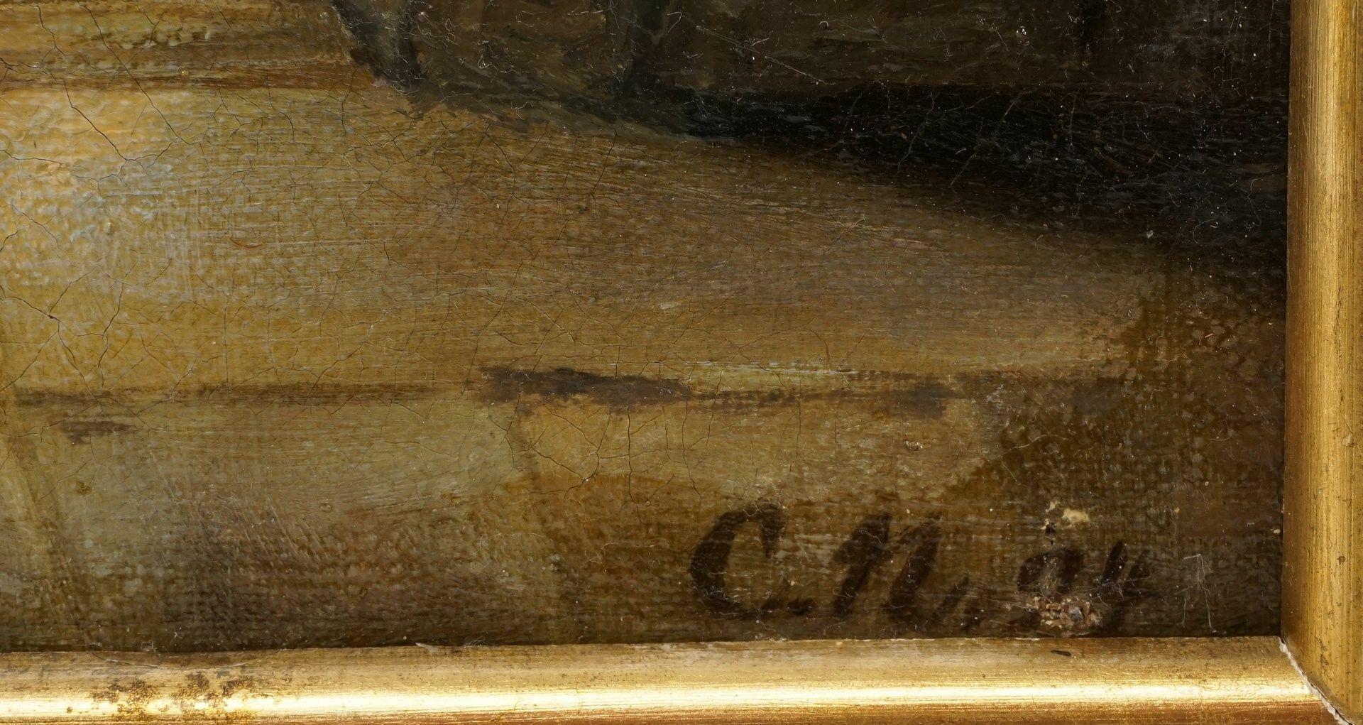 Monogrammist CN, Blick aus der romanischen Krypta der Stiftskirche auf das Quedlinburger Schloss - Bild 4 aus 4