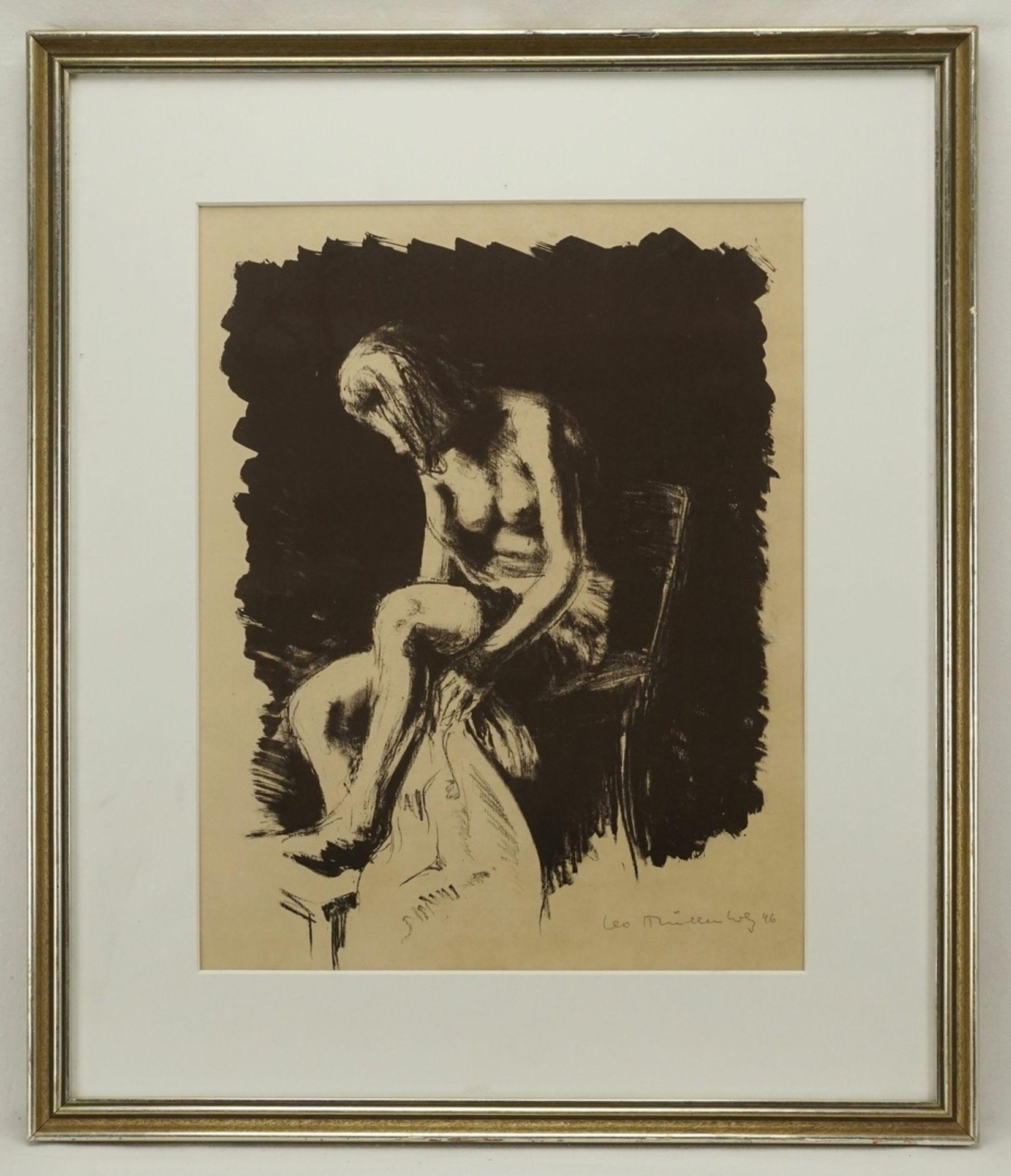 Leo Mühlenholz, Sitzender weiblicher Akt, sich die Beine trocknend - Bild 2 aus 4