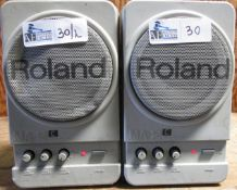 LOT OF 2 ROLAND MA-12 POWERED SPEAKERS