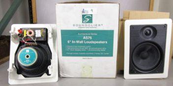 LOT OF 2 SOUNDOLIER AS76 IN-WALL LOUDSPEAKERS