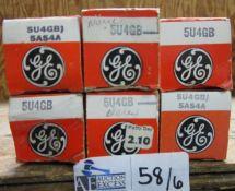 LOT OF 6 GE 5U4GB TUBES