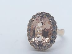 18ct rose gold morganite beryl and diamond ring