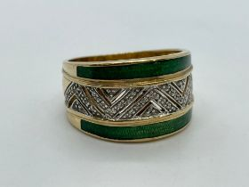 9ct gold enamel and diamond ring